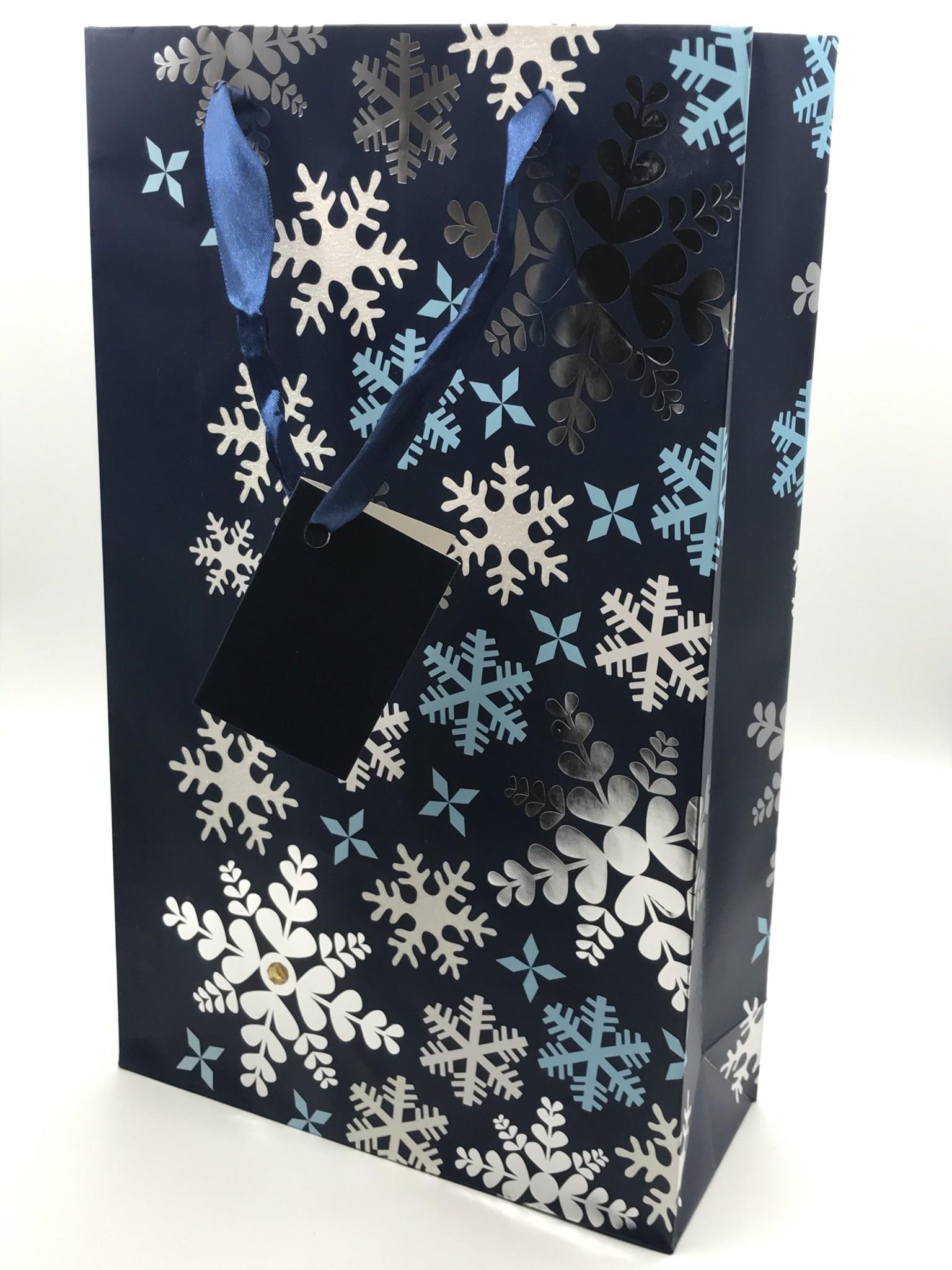 2-Bottle Blue Snowflake Bag