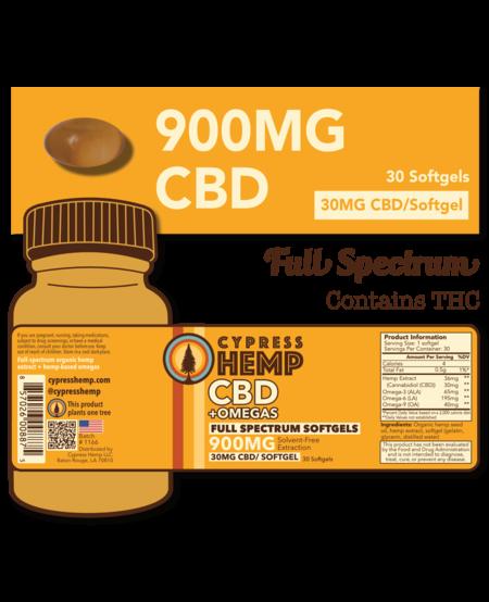 Cypress Hemp CBD + OMEGAS™ Softgels - 900mg (30ct)
