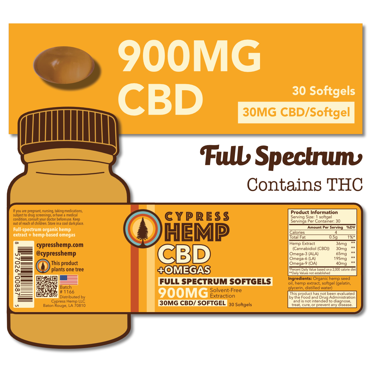 Cypress Hemp Cypress Hemp Full Spectrum CBD + OMEGAS™ Softgels - 30ct 900mg