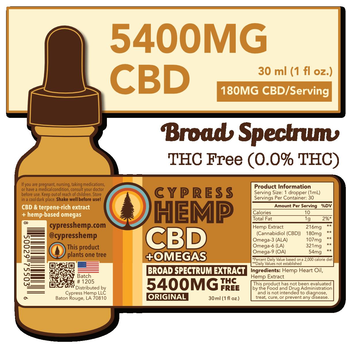 Cypress Hemp Cypress Hemp Broad Spectrum  CBD + OMEGAS™ Oil Original 5400mg CBD