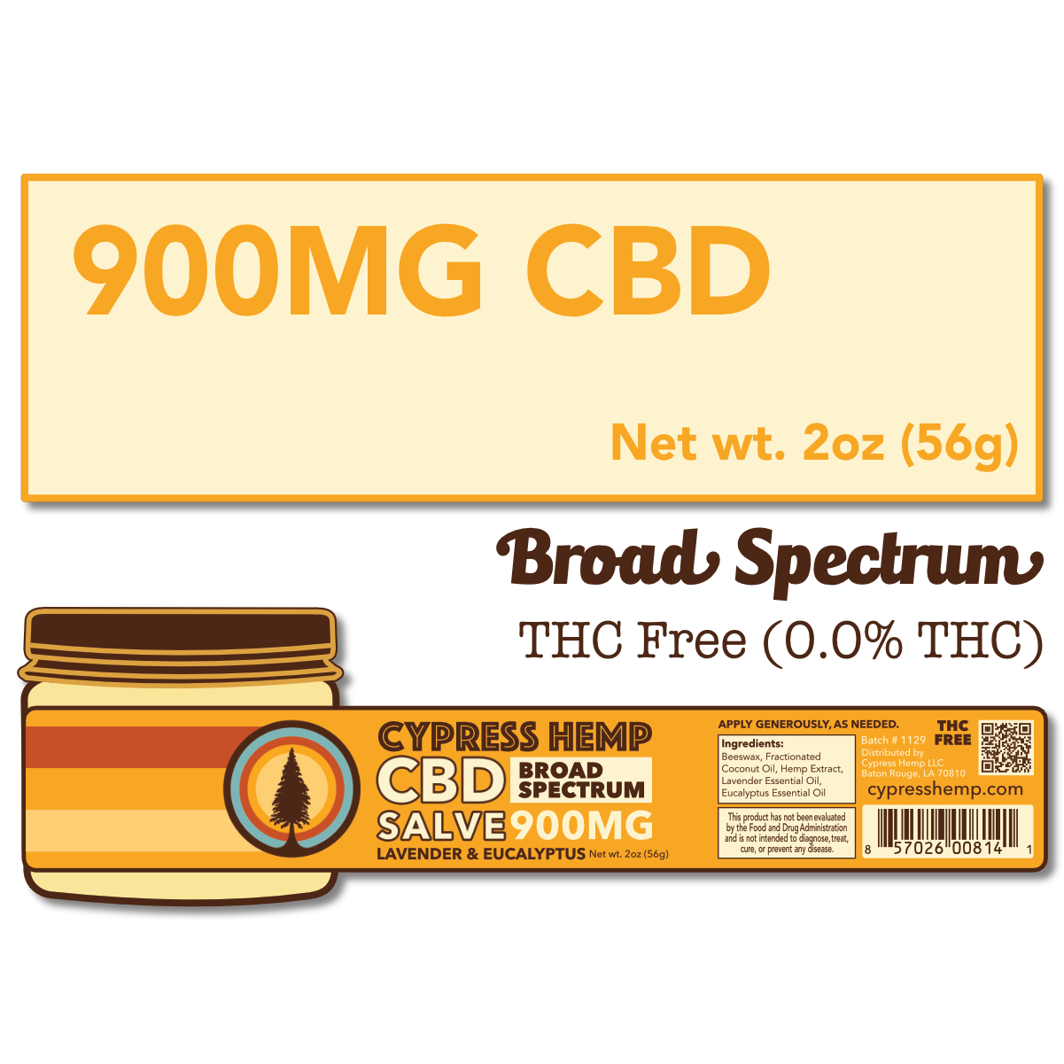 Cypress Hemp Cypress Hemp Broad Spectrum CBD Salve Lavender & Eucalyptus - 900mg