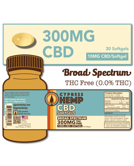 Cypress Hemp CBD Softgels - 300mg (30ct)