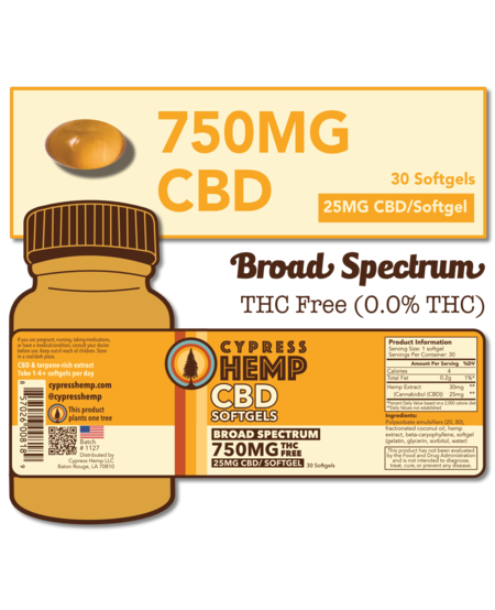 Cypress Hemp CBD Softgels - 750mg (30ct)