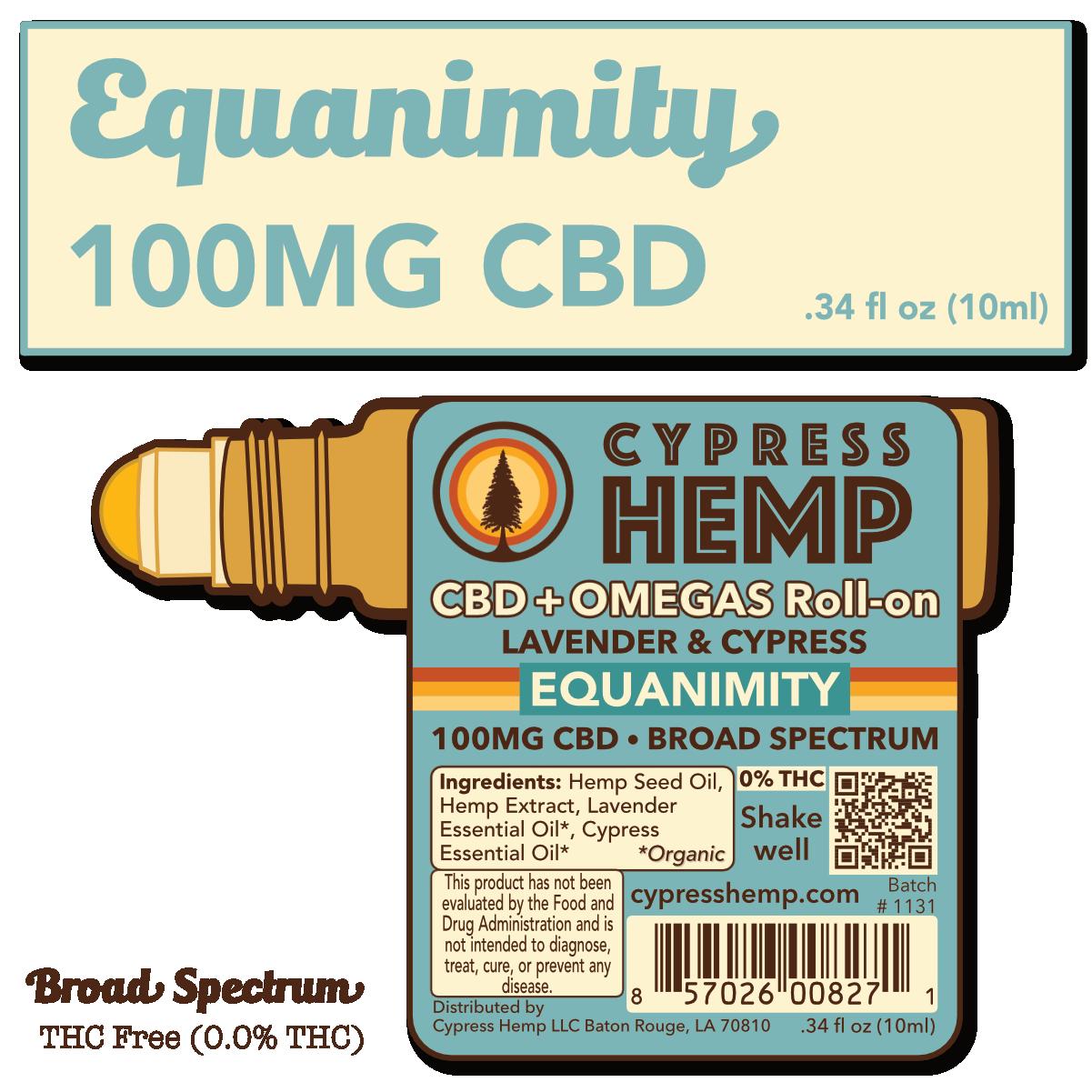 Cypress Hemp Cypress Hemp Broad Spectrum CBD + OMEGAS™ Roll-on - 100mg Lavender & Cypress