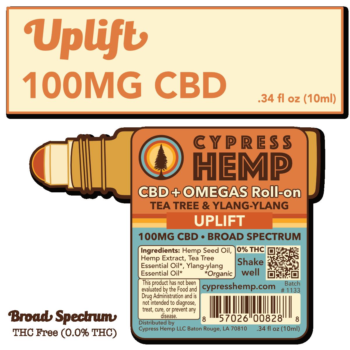 Cypress Hemp Cypress Hemp Broad Spectrum CBD + OMEGAS™ Roll-on - 100mg Tea Tree & Ylang-ylang