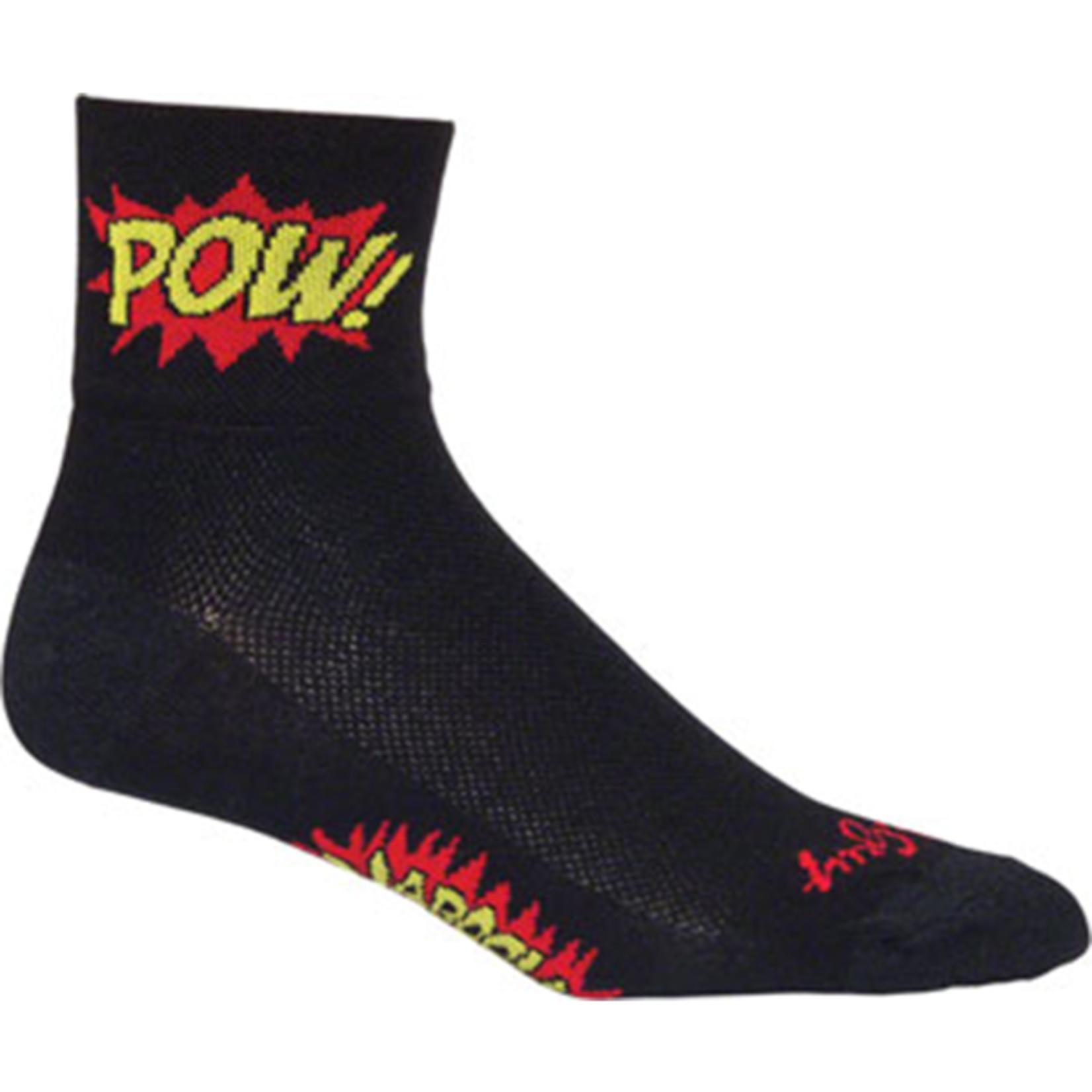 SockGuy SockGuy Classic Boom Pow Socks - 3 inch, Black, Small/Medium