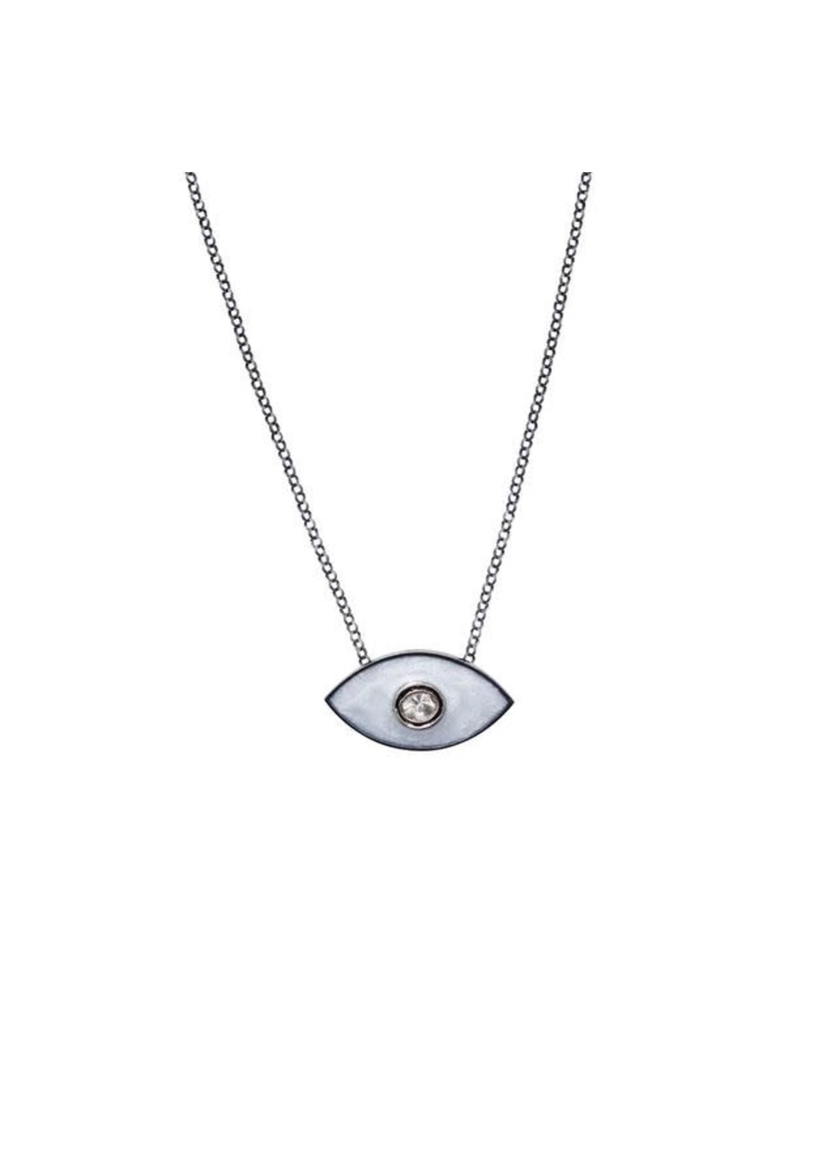 S. Carter Designs White Enamel Evil Eye Necklace