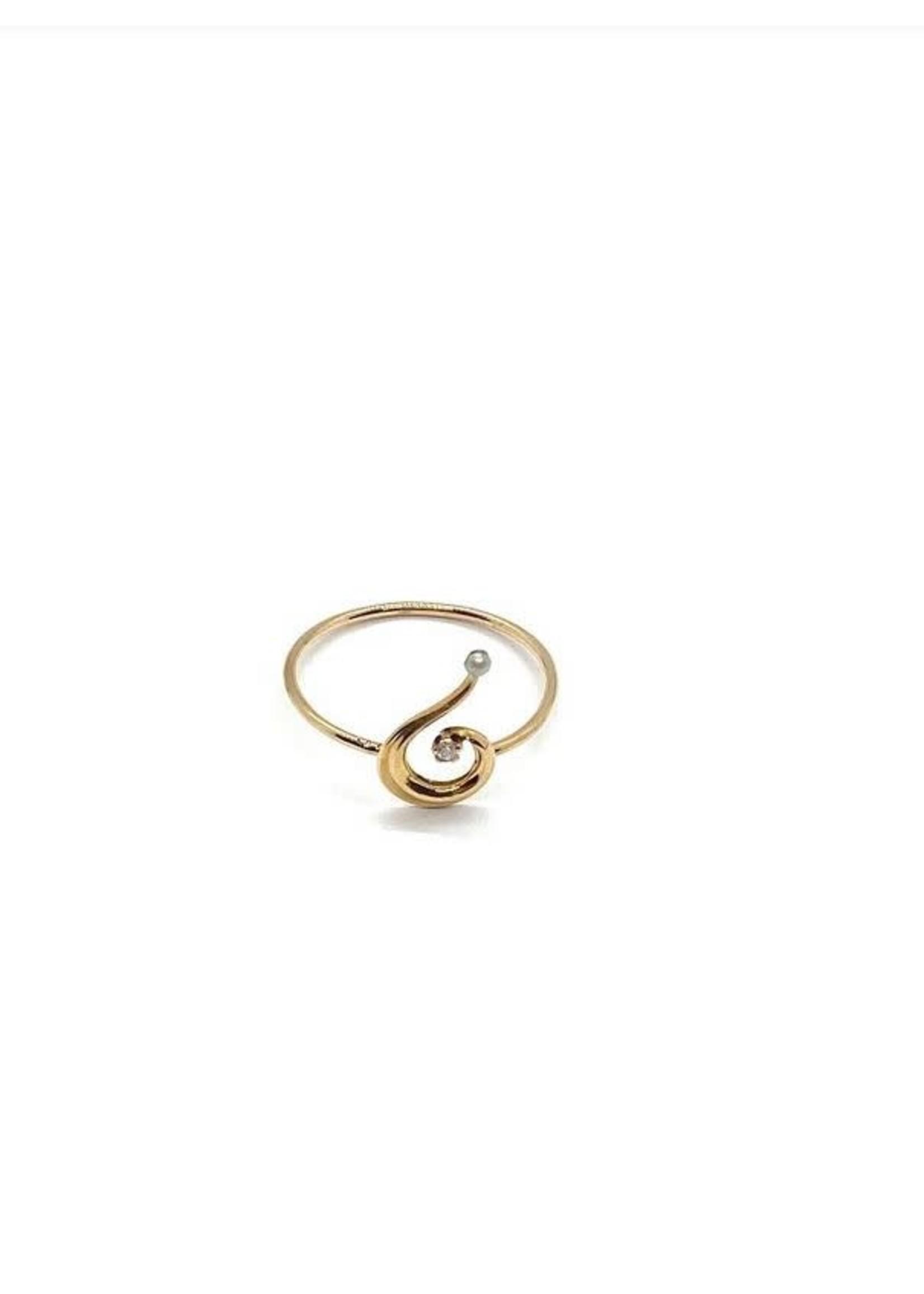Jill Alberts Diamond Pearl Ring