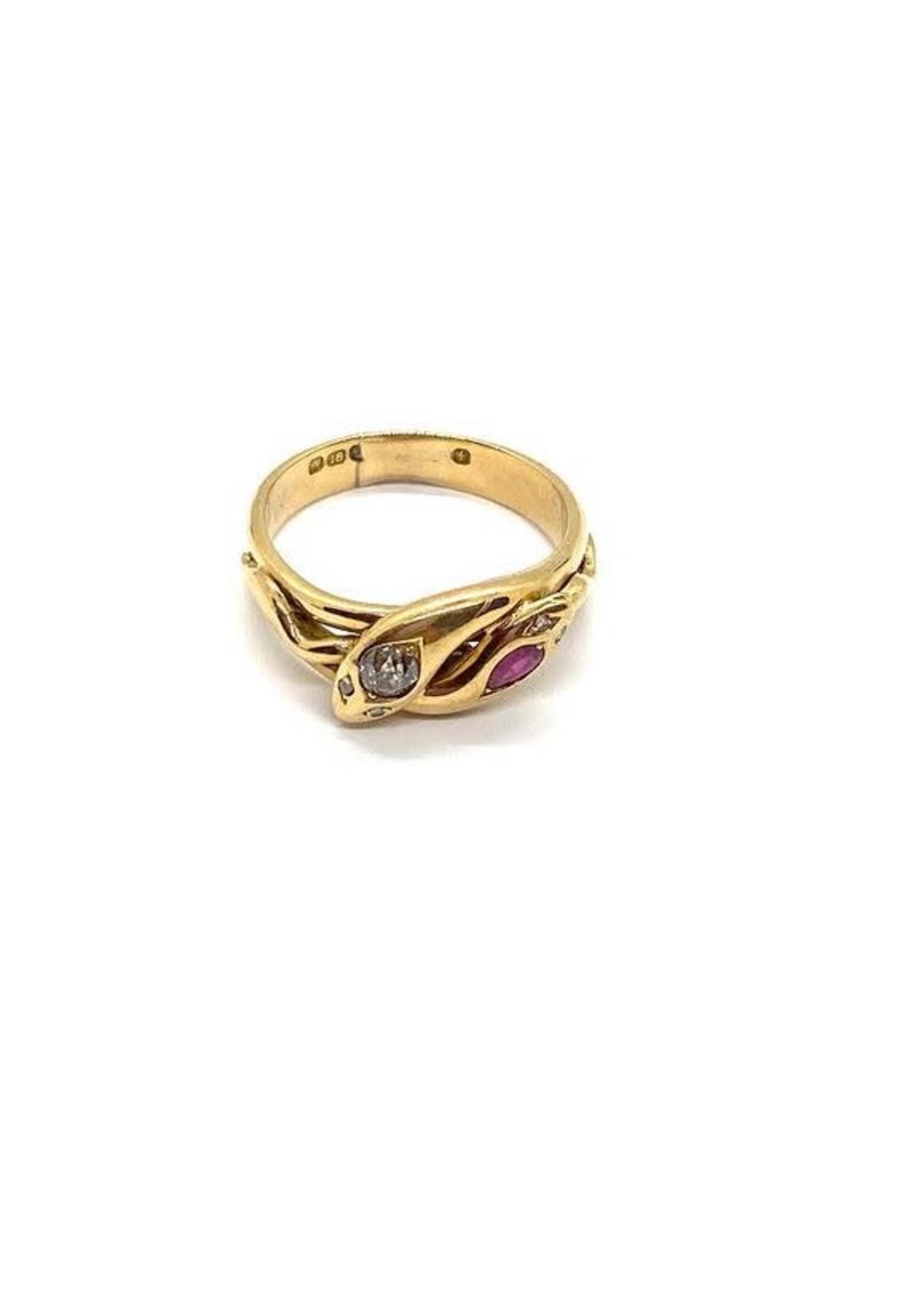 Jill Alberts Diamond  Ruby Snake Ring