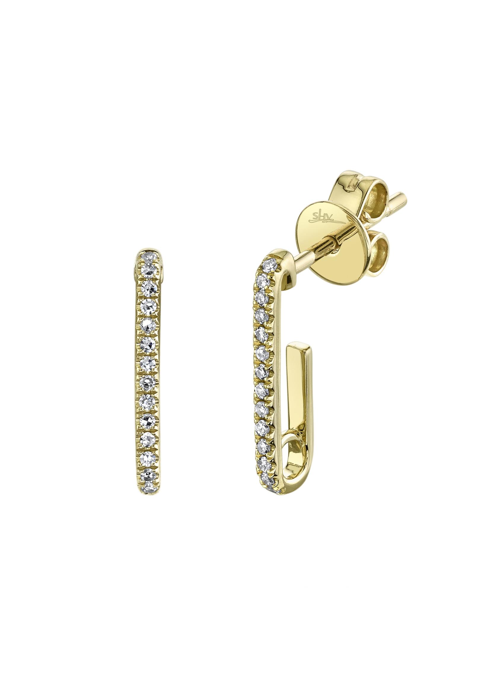 Jill Alberts Diamond J Hoop Earrings