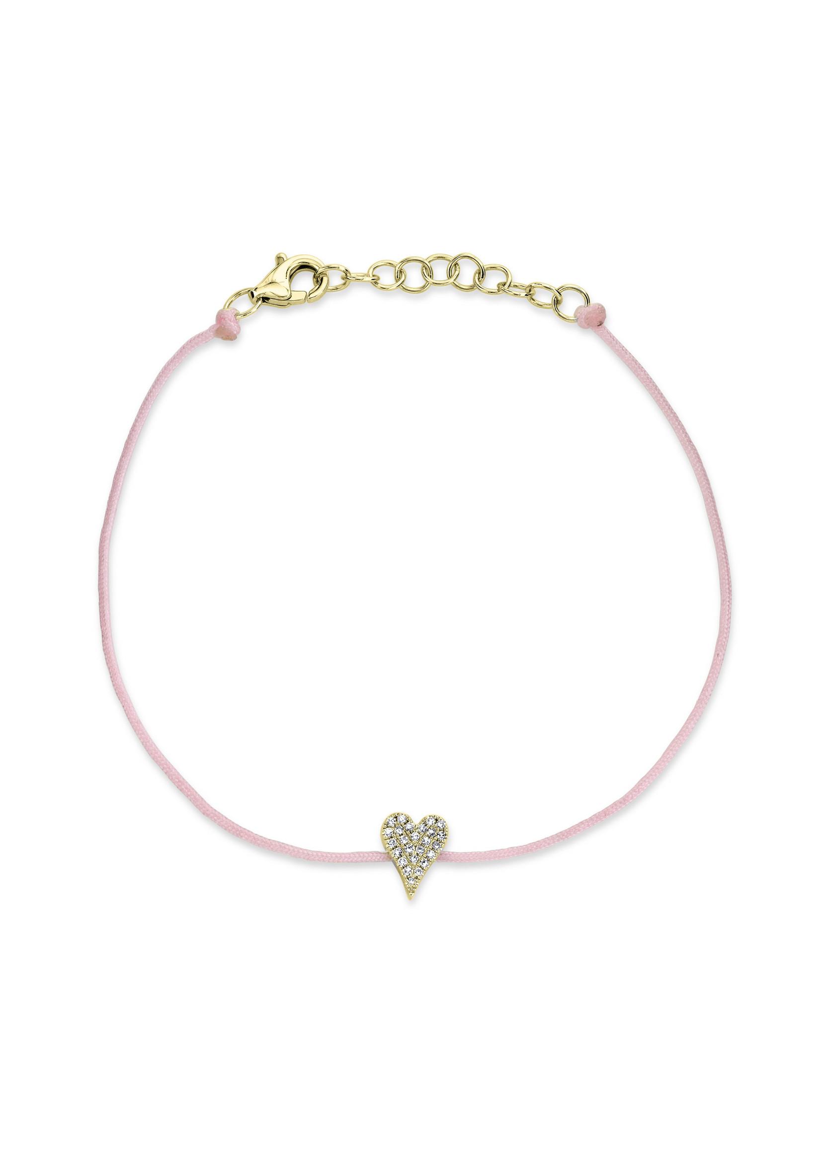 Jill Alberts Pink Silk Diamond Pave Heart Bracelet