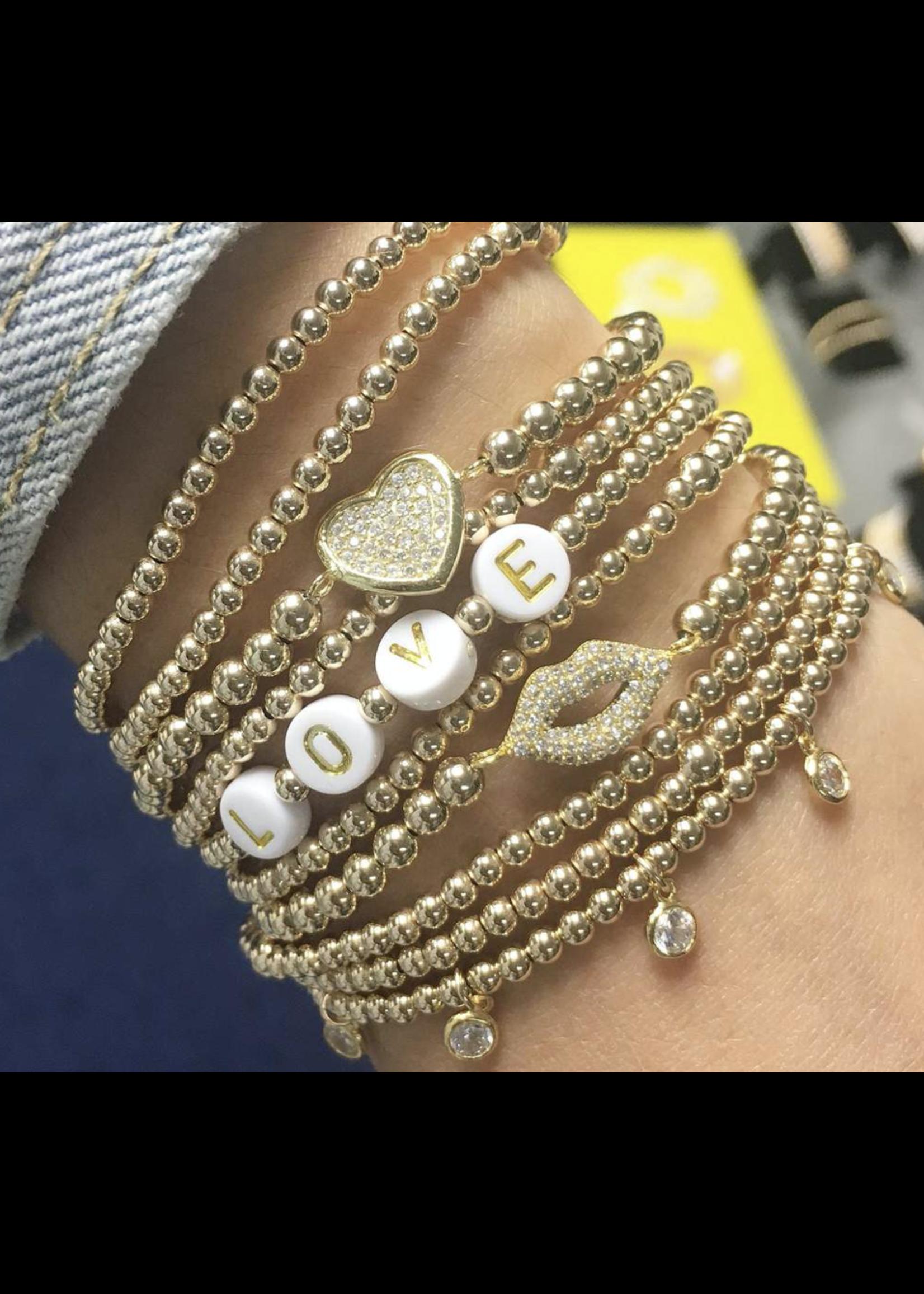 Jaimie Nicole Gold LOVE  Initial Bracelet