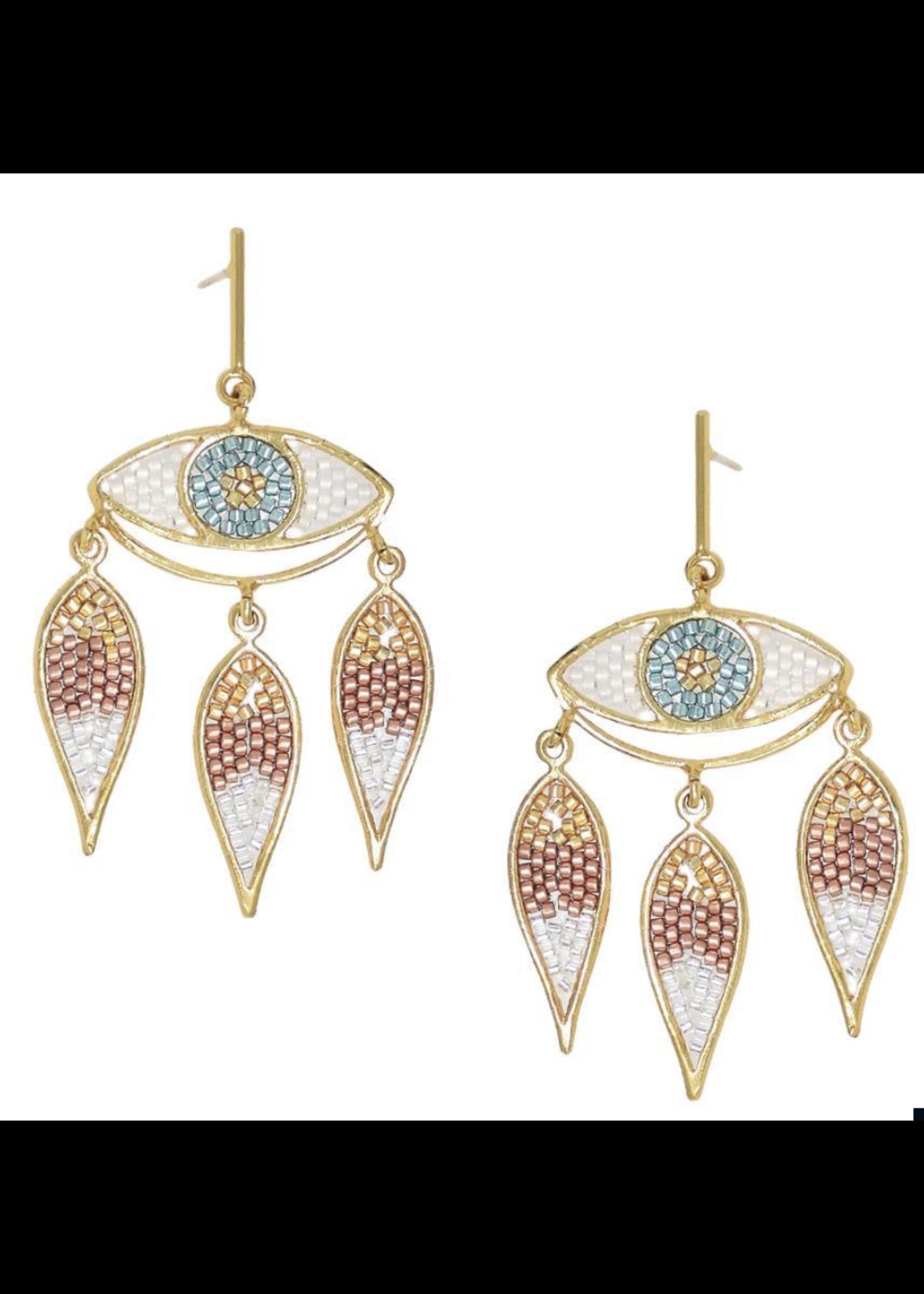 Mishky Pink & Turquoise Mystic Eye Earrings