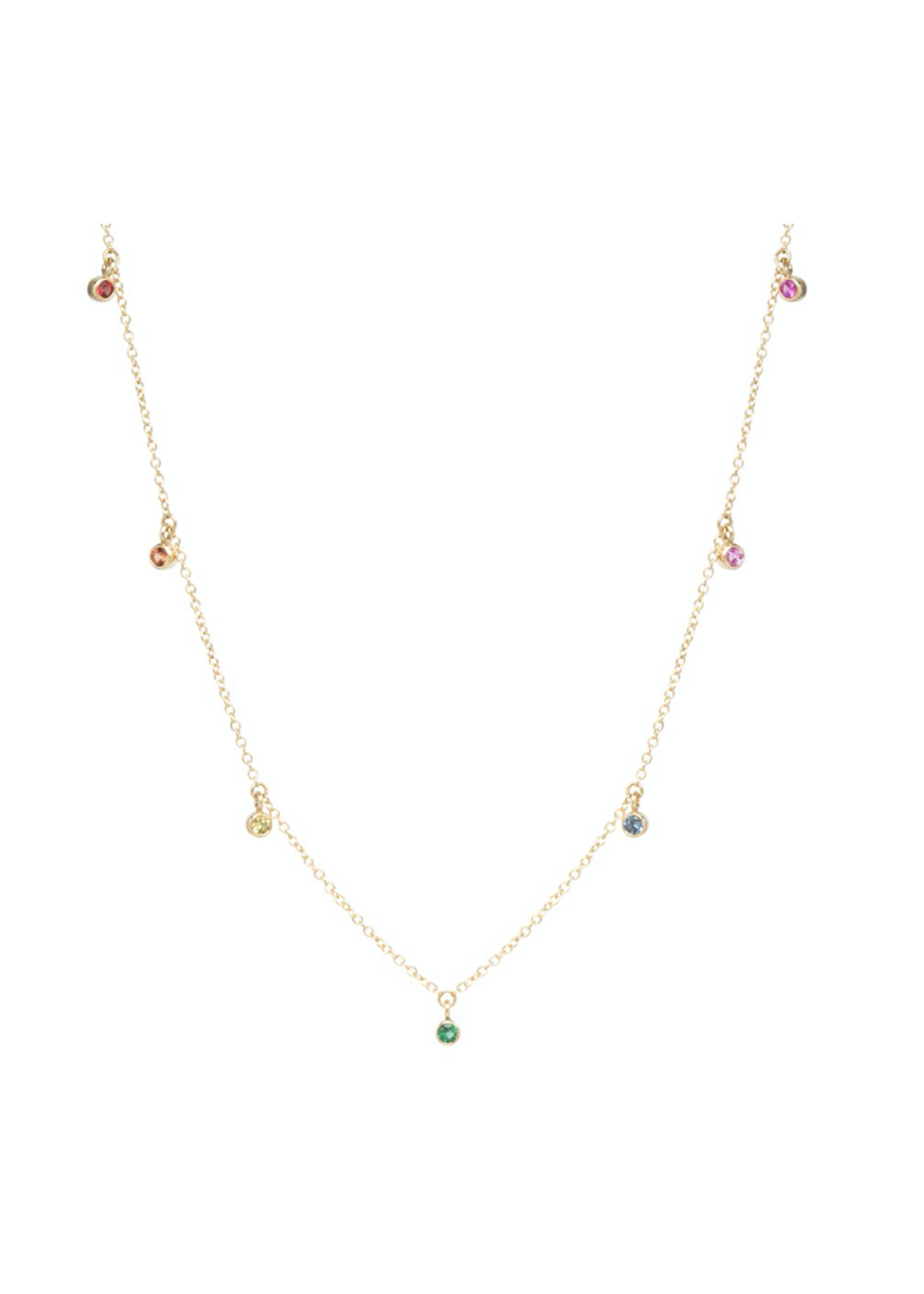 Zoe Chicco 7 Dangling Rainbow Sapphire Necklace