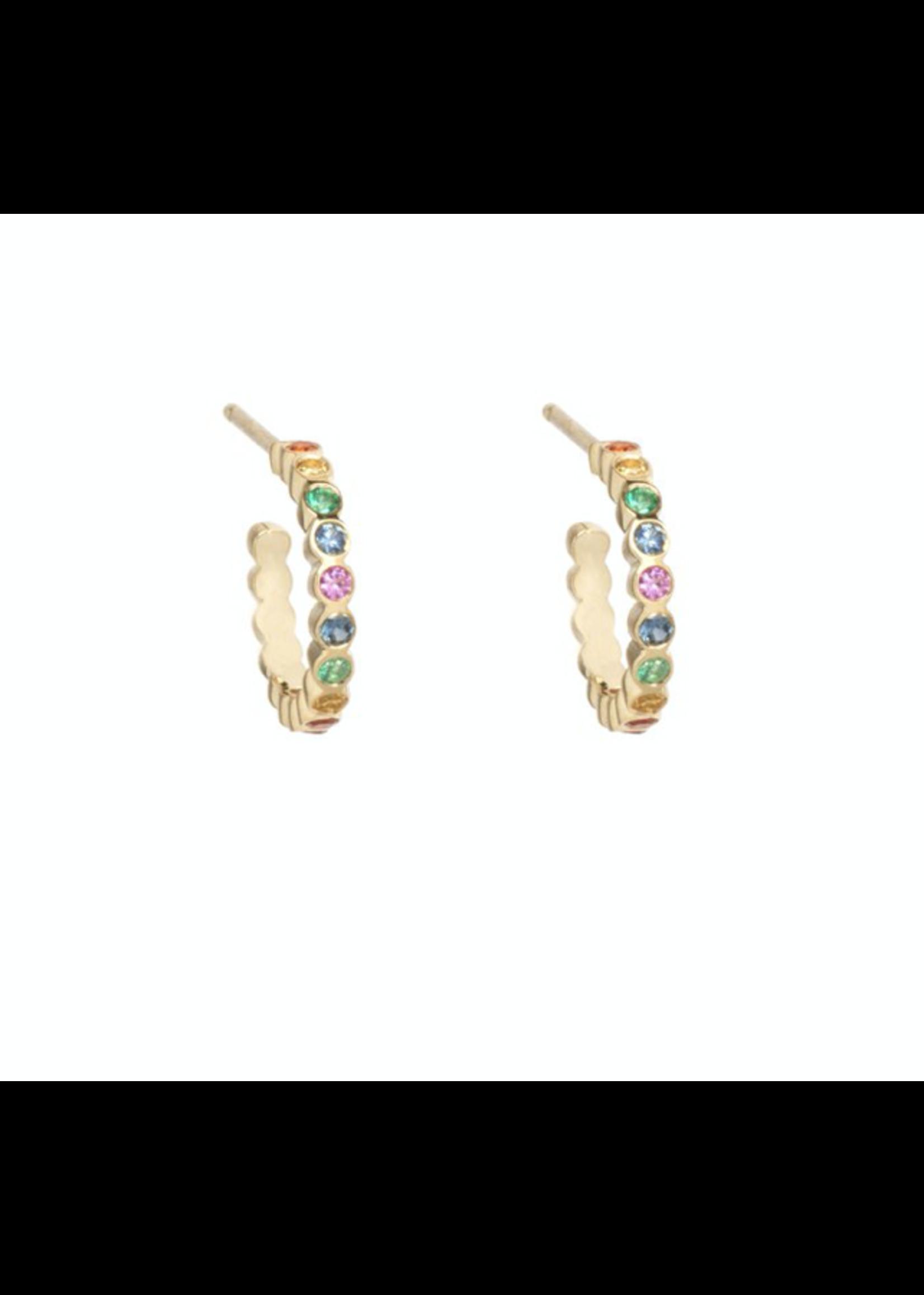 Zoe Chicco Small Bezel Huggie Rainbow Sapphires Hoops