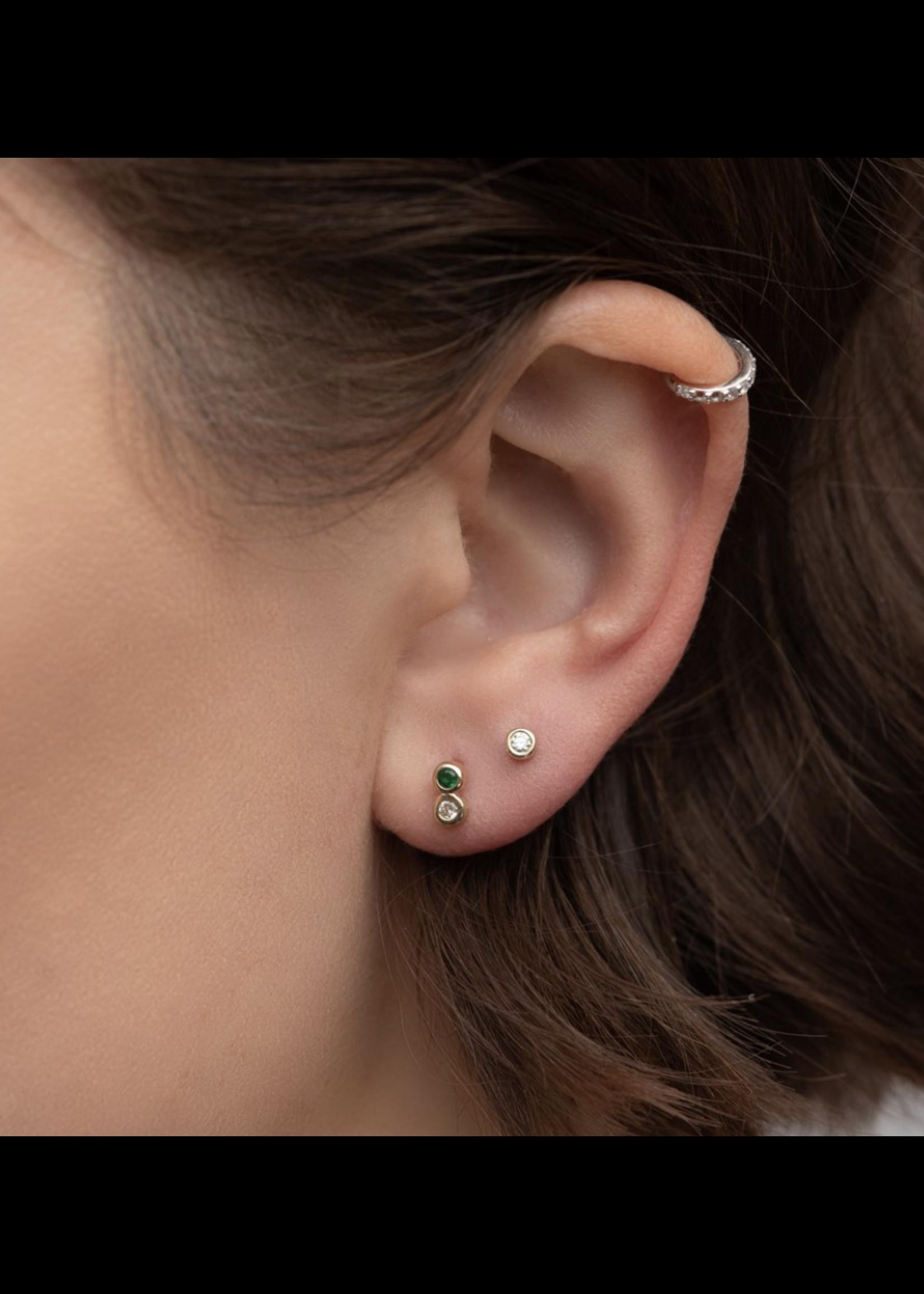 Rachel Reid Emerald & Diamond Duo Stud Earrings