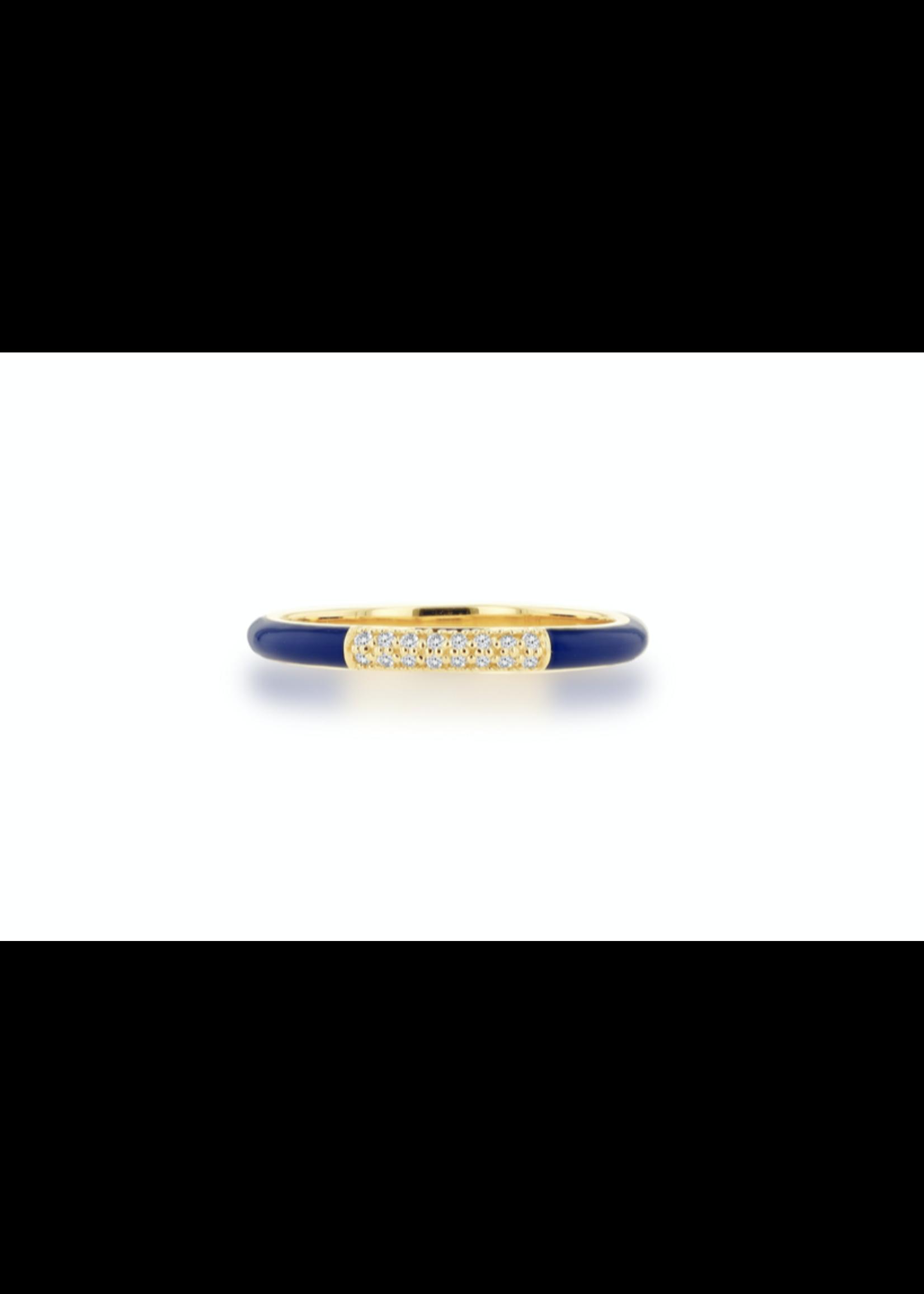 Rachel Reid Navy Enamel & Pave Diamond Band Ring