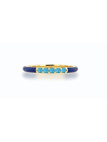 Rachel Reid Navy Enamel & Turquoise Band Ring