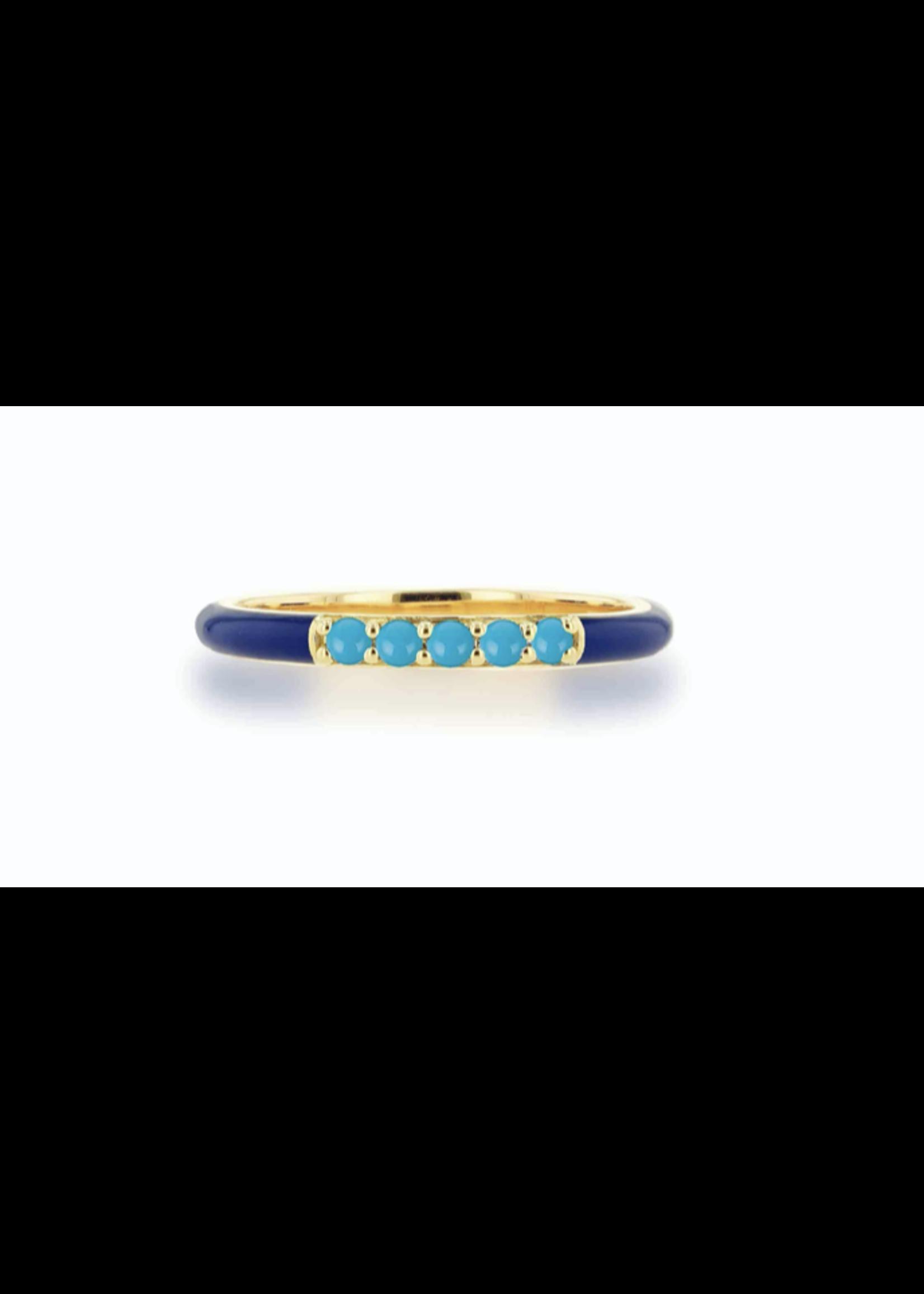 Rachel Reid Navy Enamel &Turquoise Band Ring