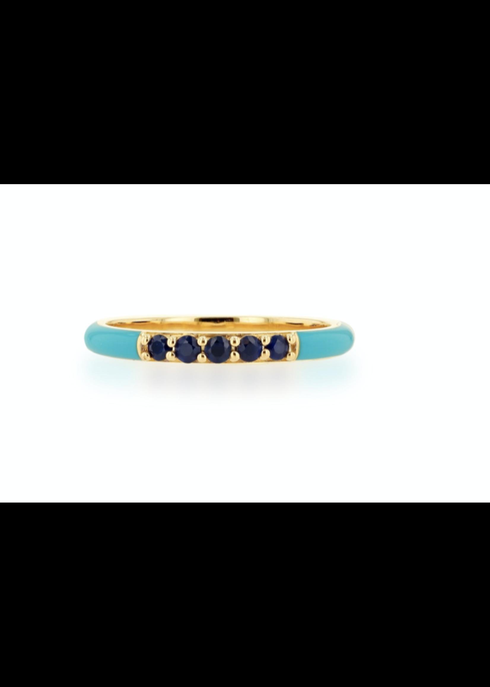 Rachel Reid Turquoise Enamel &  Sapphire Band Ring