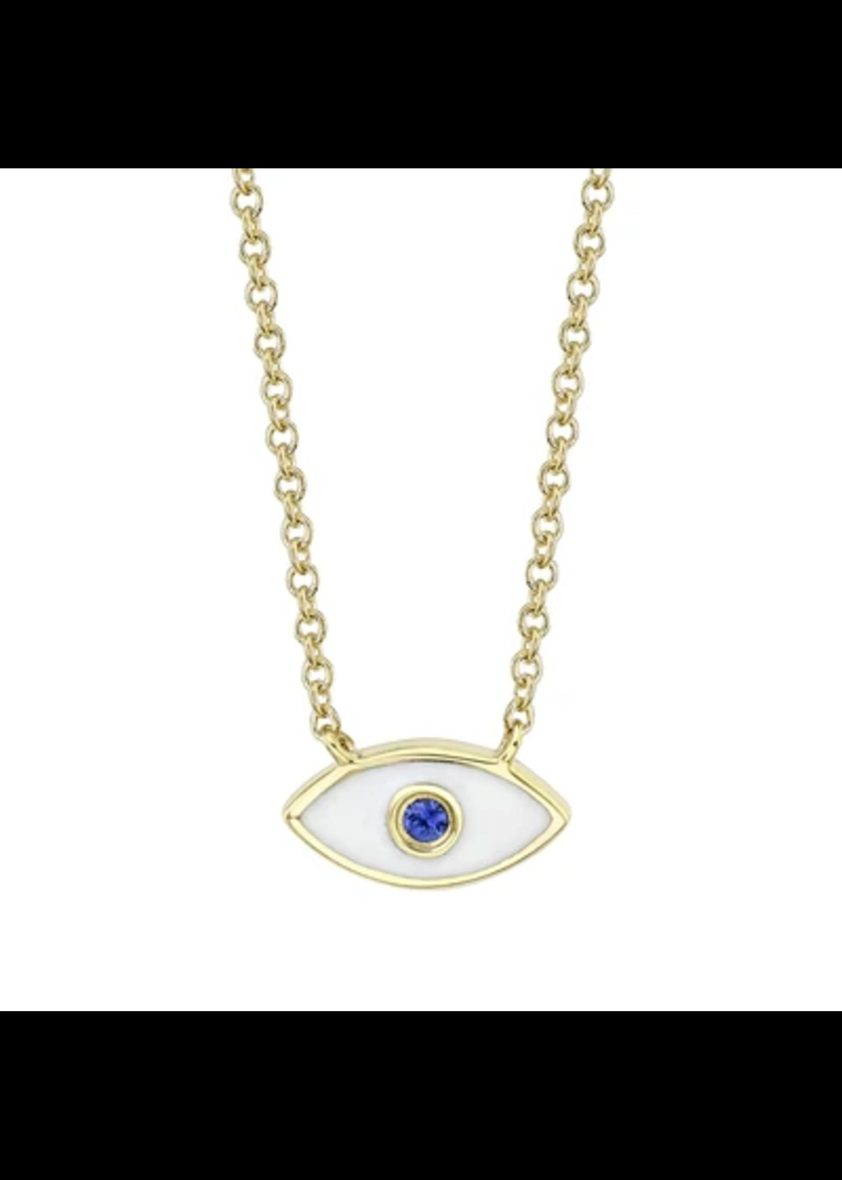 Jill Alberts Blue Sapphire & White Enamel Eye Necklace