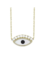 Jill Alberts Diamond, Onyx & Mother of Pearl  Eye Necklace