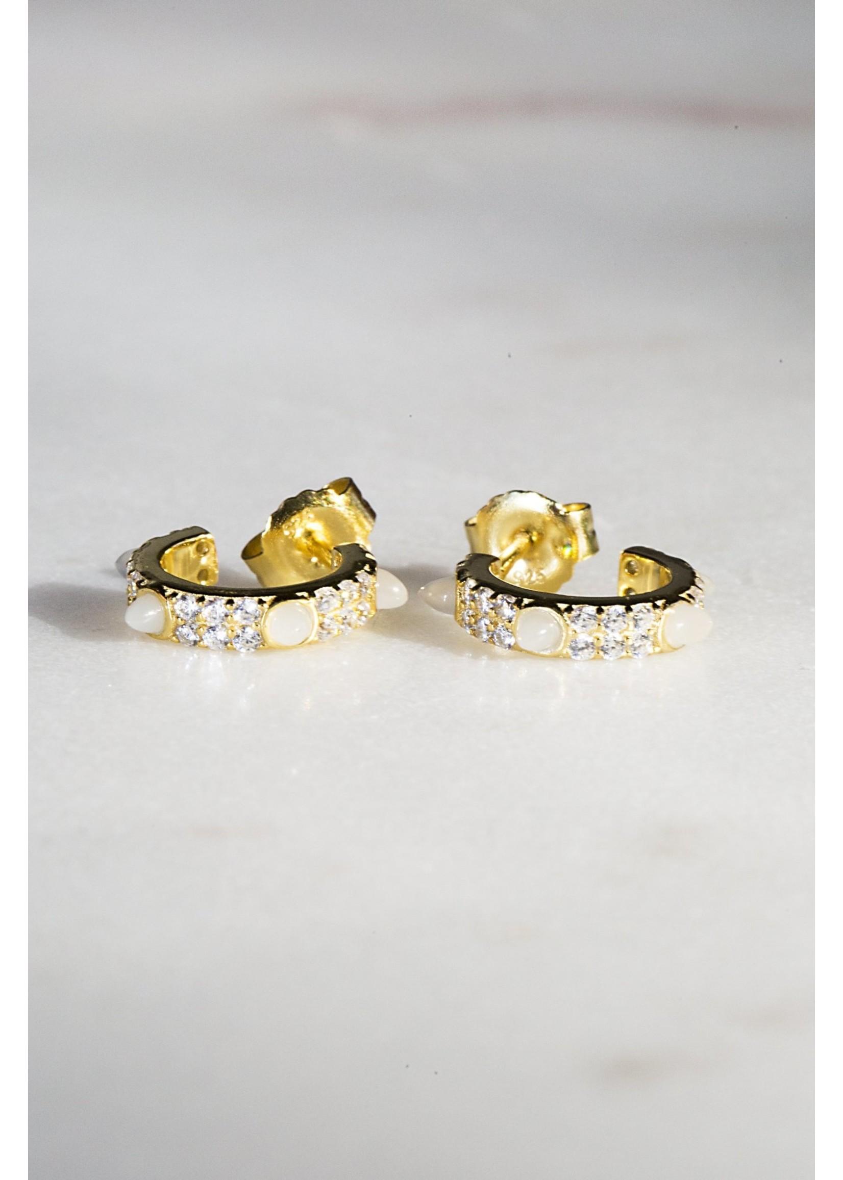 Native Gem Bishop White Jade  Huggie Earrings