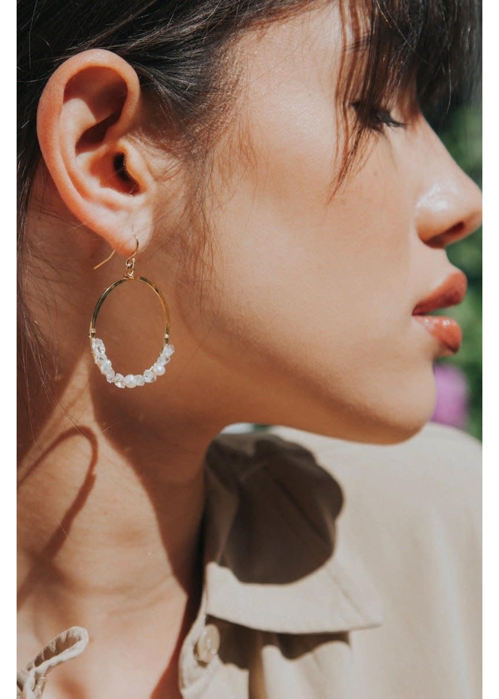 Native Gem Fairy Dust Crystal  Circle Earrings