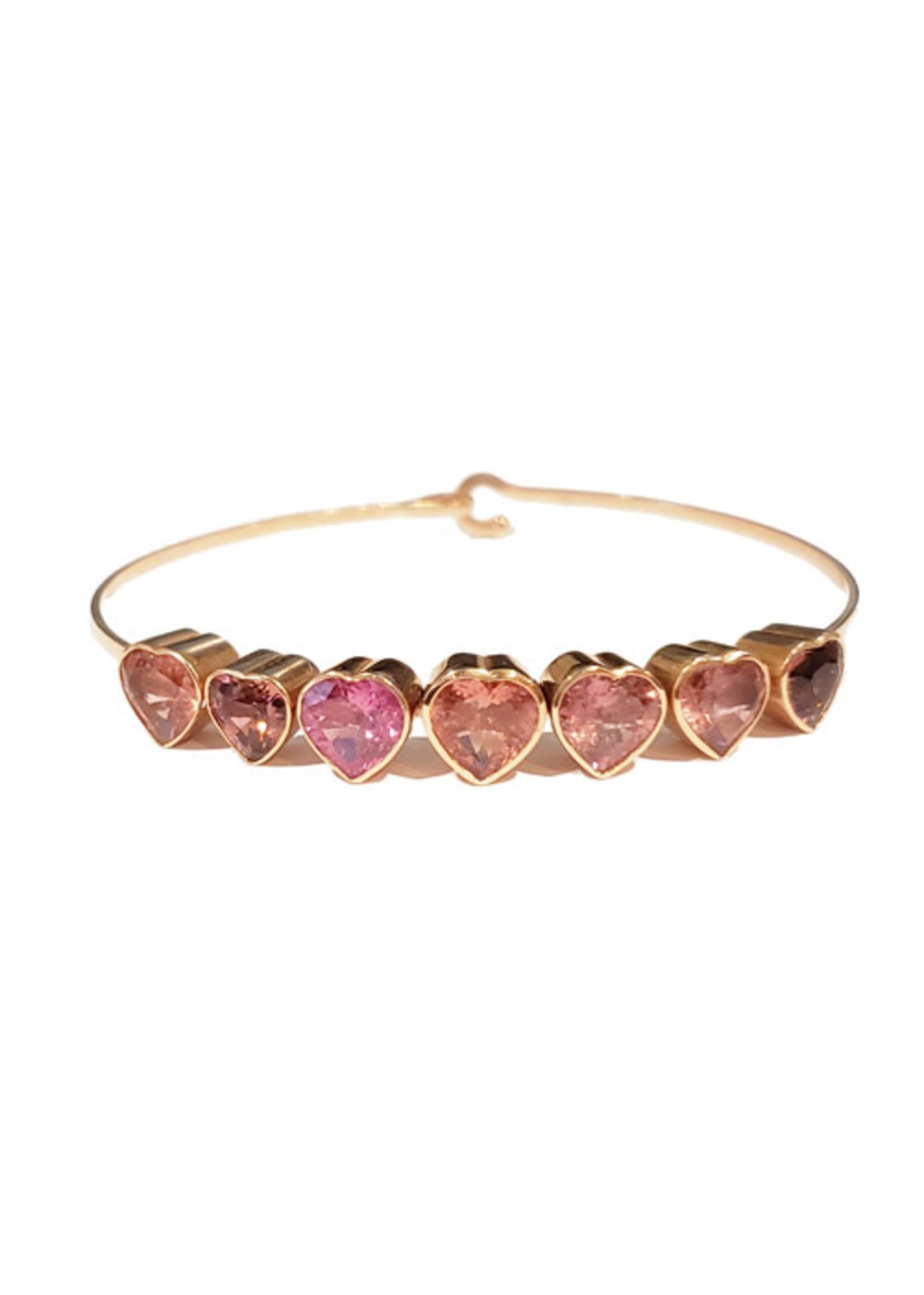 Christina A. Alexiou Pink Tourmaline Heart Bracelet