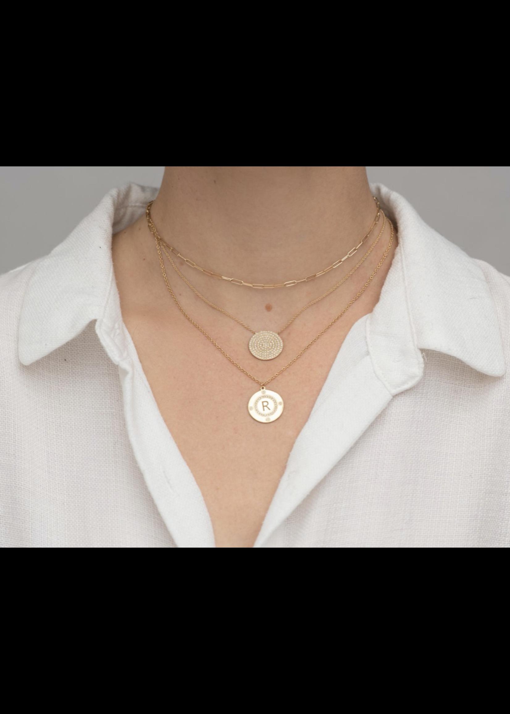 Rachel Reid Personalized Diamond Disc Necklace