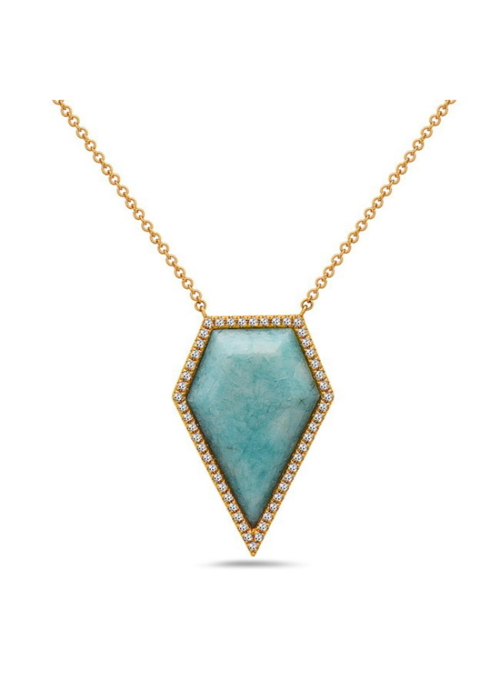Jill Alberts Geometric Amazonite Pendant with Diamonds Necklace