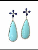 Jill Alberts Blue Sapphire, Turquoise & Diamond Earrings