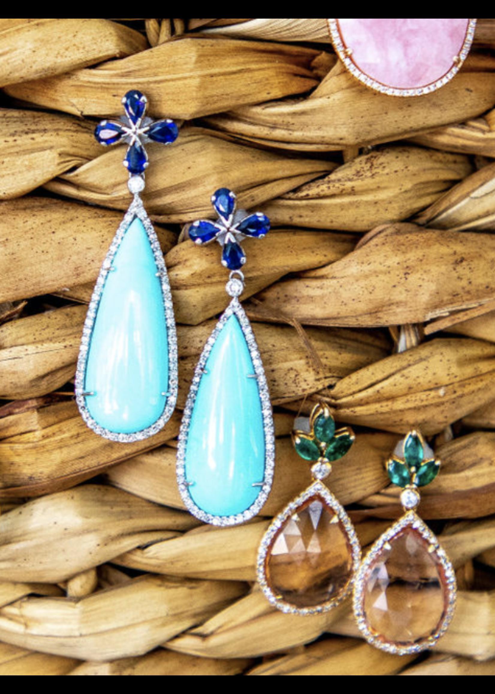 Jill Alberts Blue Sapphire & Diamond Earrings