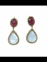 Jill Alberts Aqua, Diamond & Ruby Earrings
