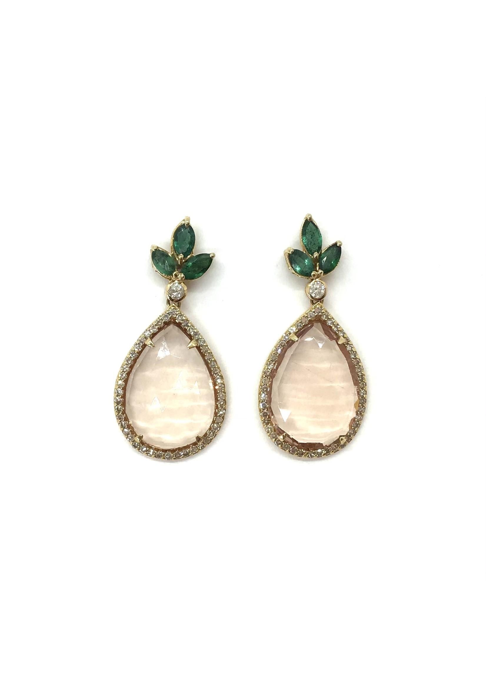 Jill Alberts Morganite, Emerald , & Diamond Earrings