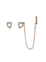 Borgioni Rose Gold Heart Ear Chain
