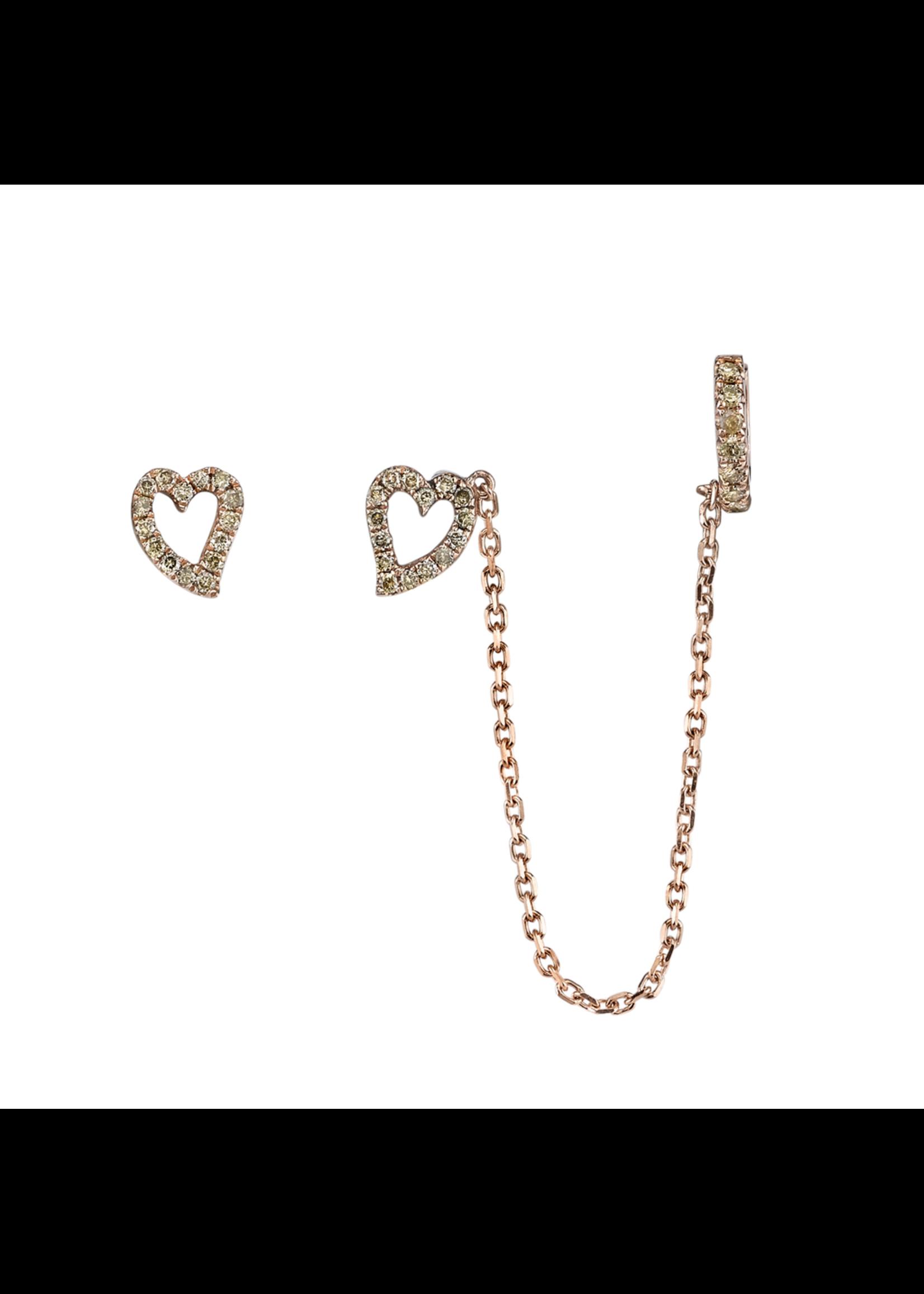 Borgioni Rose Gold Brown Diamonds Heart Ear Chain