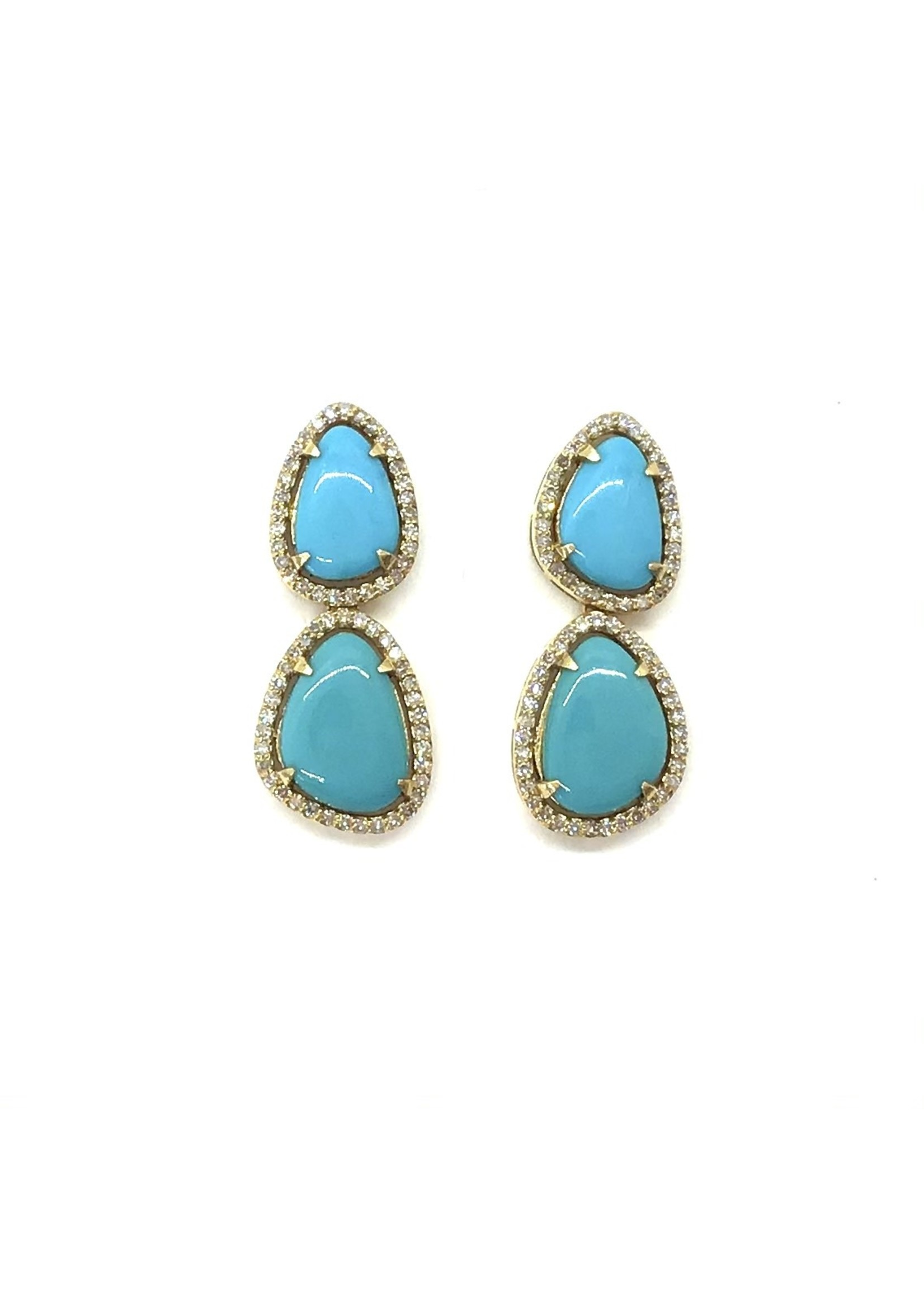 Jill Alberts Double Turquoise Earrings