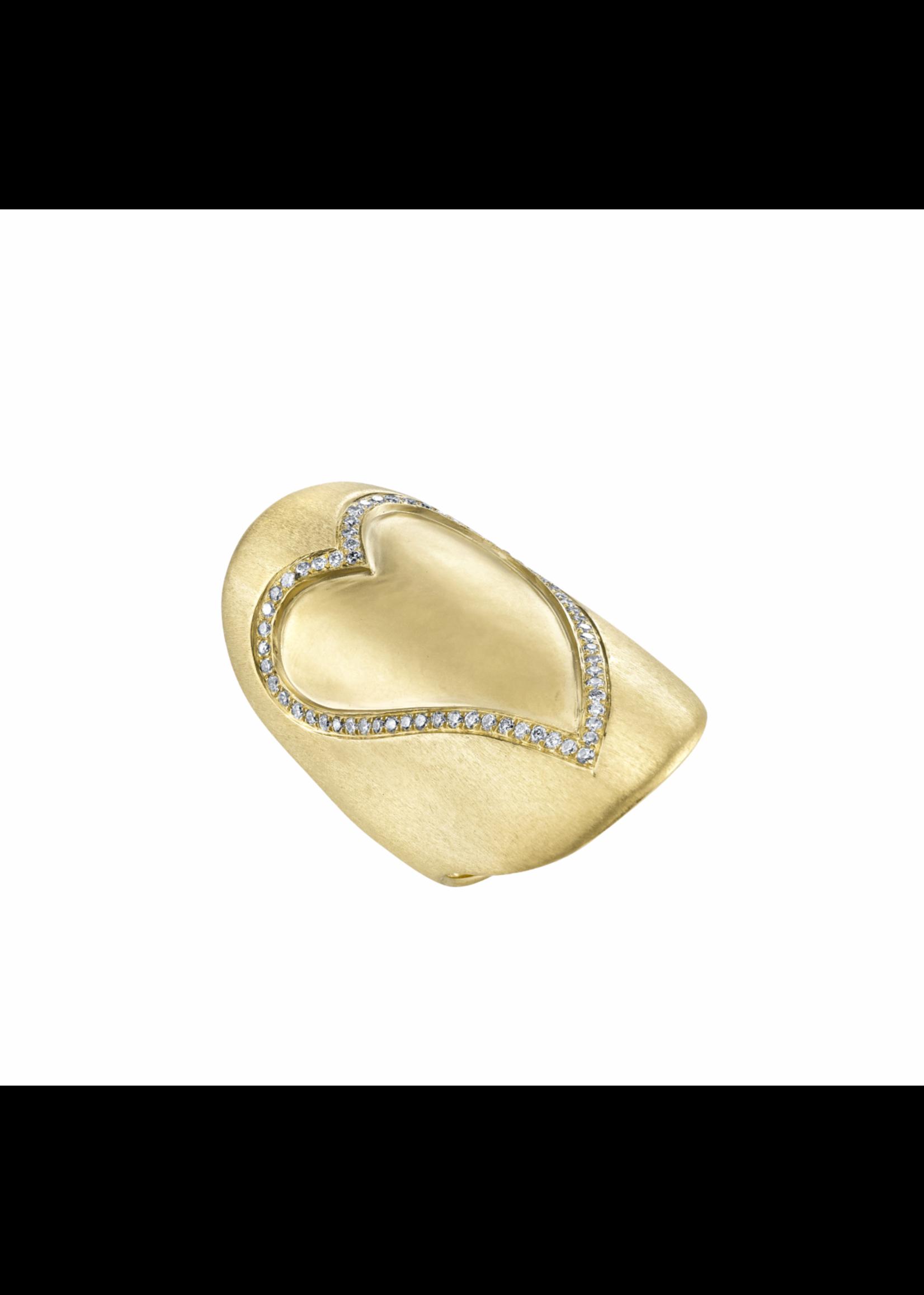 Borgioni Yellow Gold Diamond Heart Shied Ring