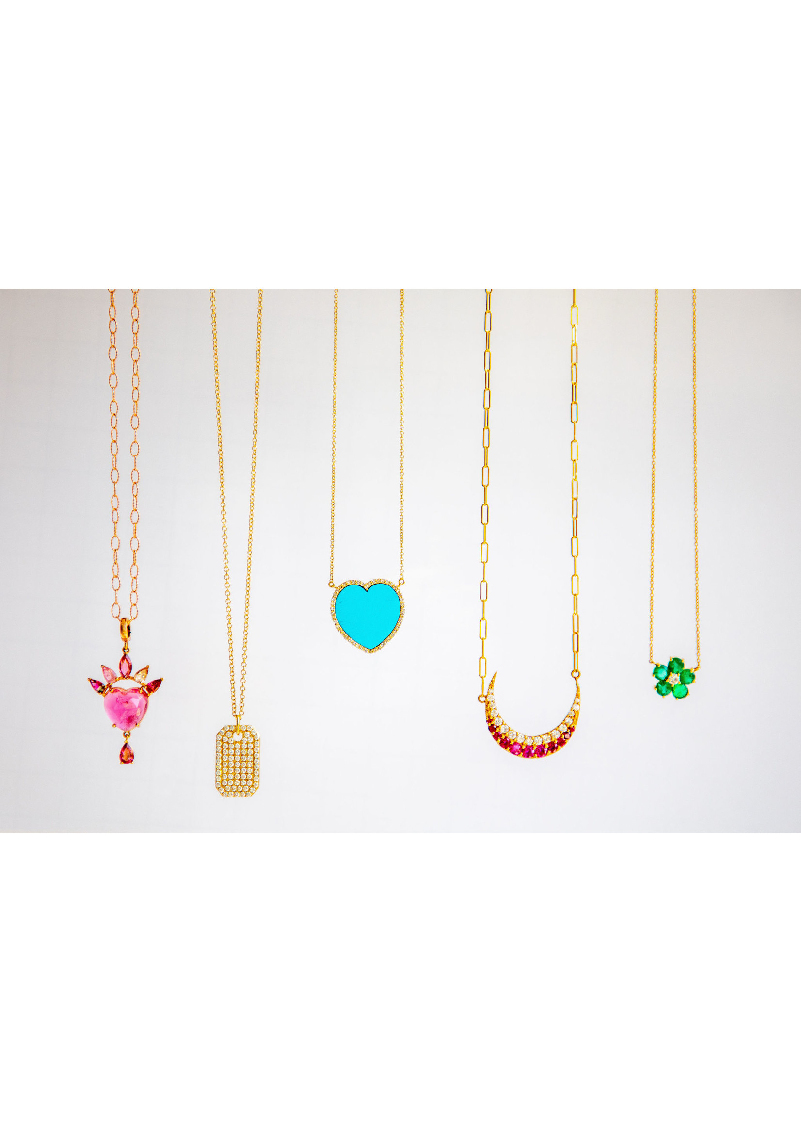 Jill Alberts Turquoise Heart with Diamond Border Necklace