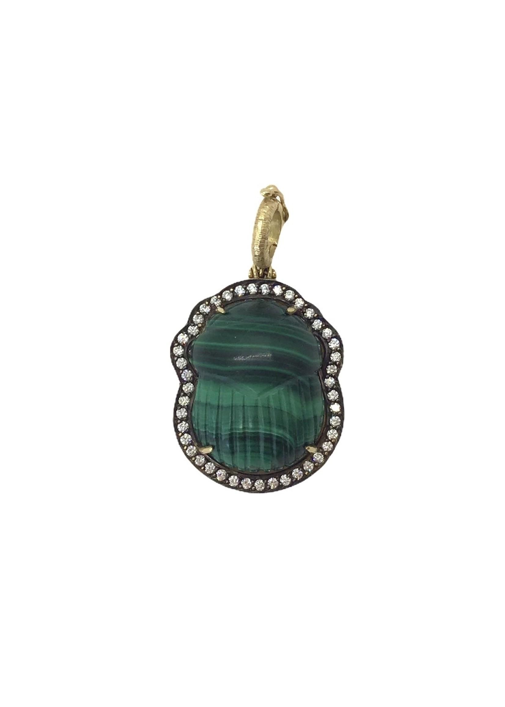 Silvia Furmanovich Malachite & Diamond Scarab Charm