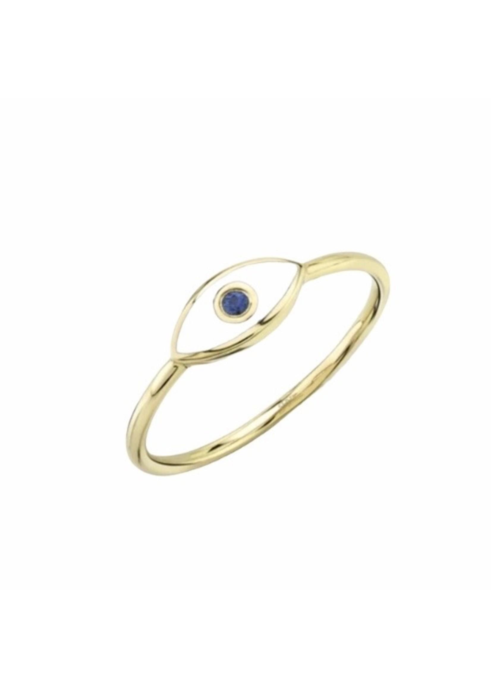 Jill Alberts Blue Sapphire & White Enamel Eye Ring