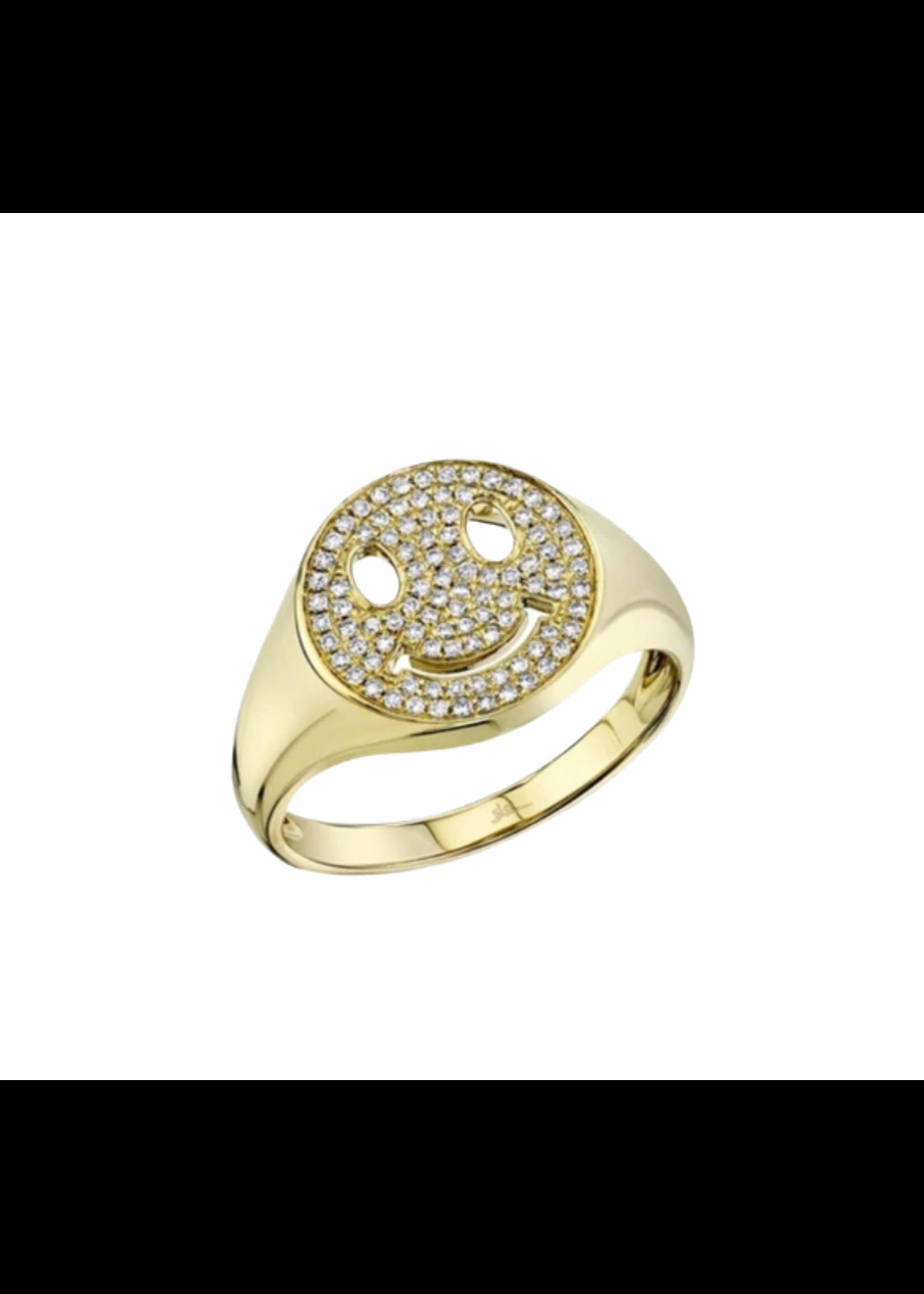 Jill Alberts Diamond Smiley Signet Ring