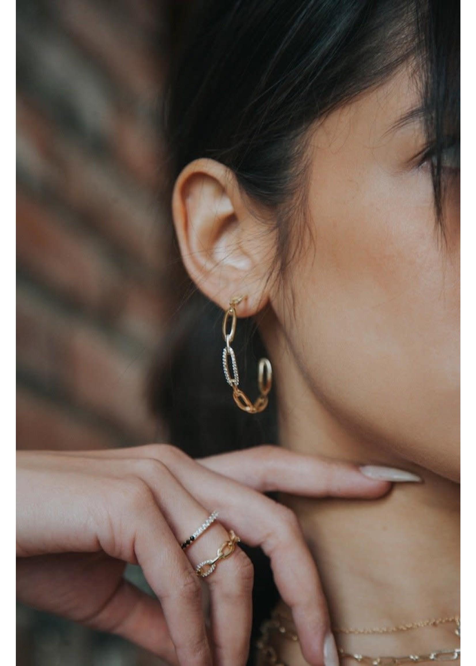 Native Gem Links Hoop Earrings