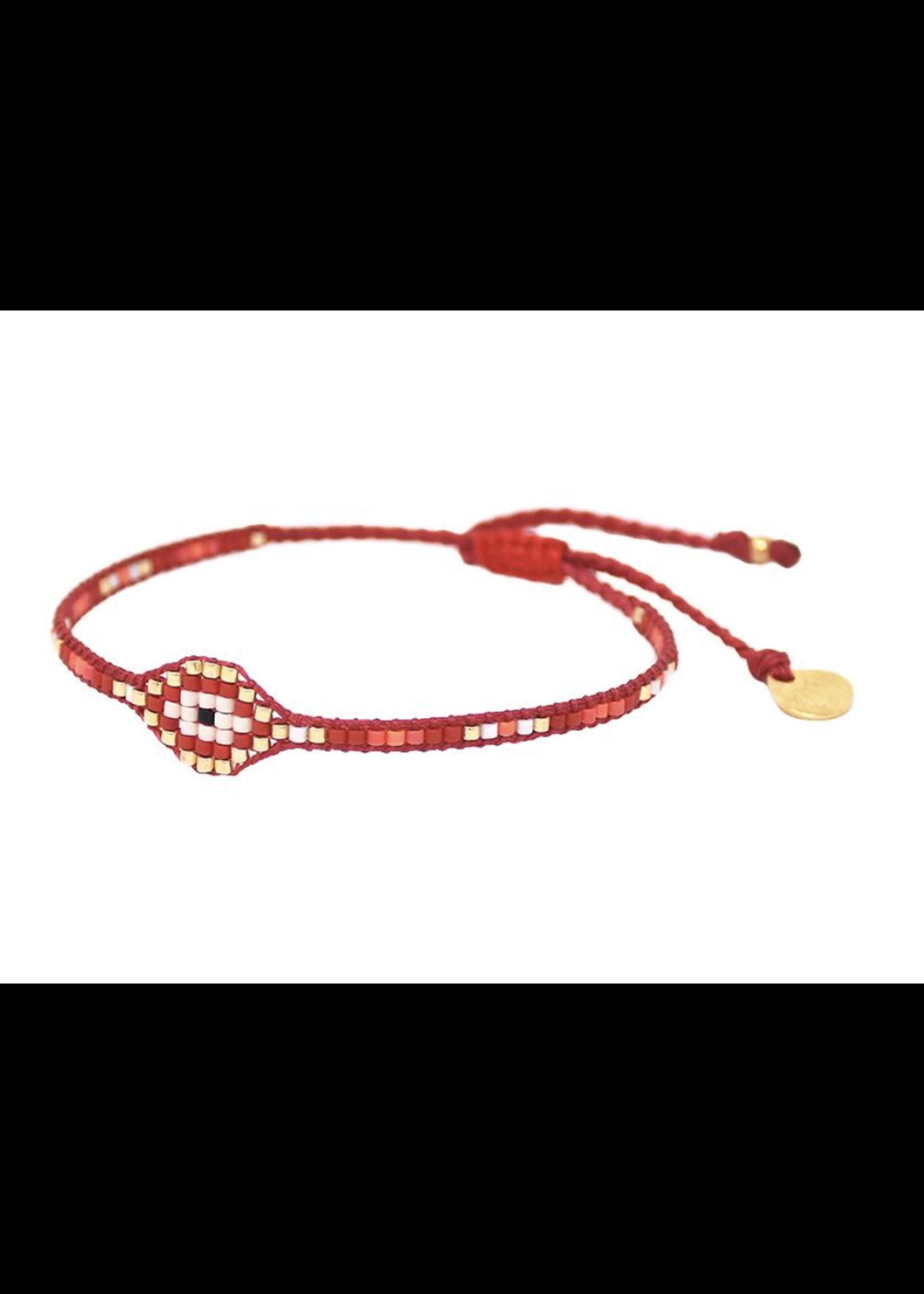 Mishky Red & Gold Evil Eye Row 2.0 Bracelet