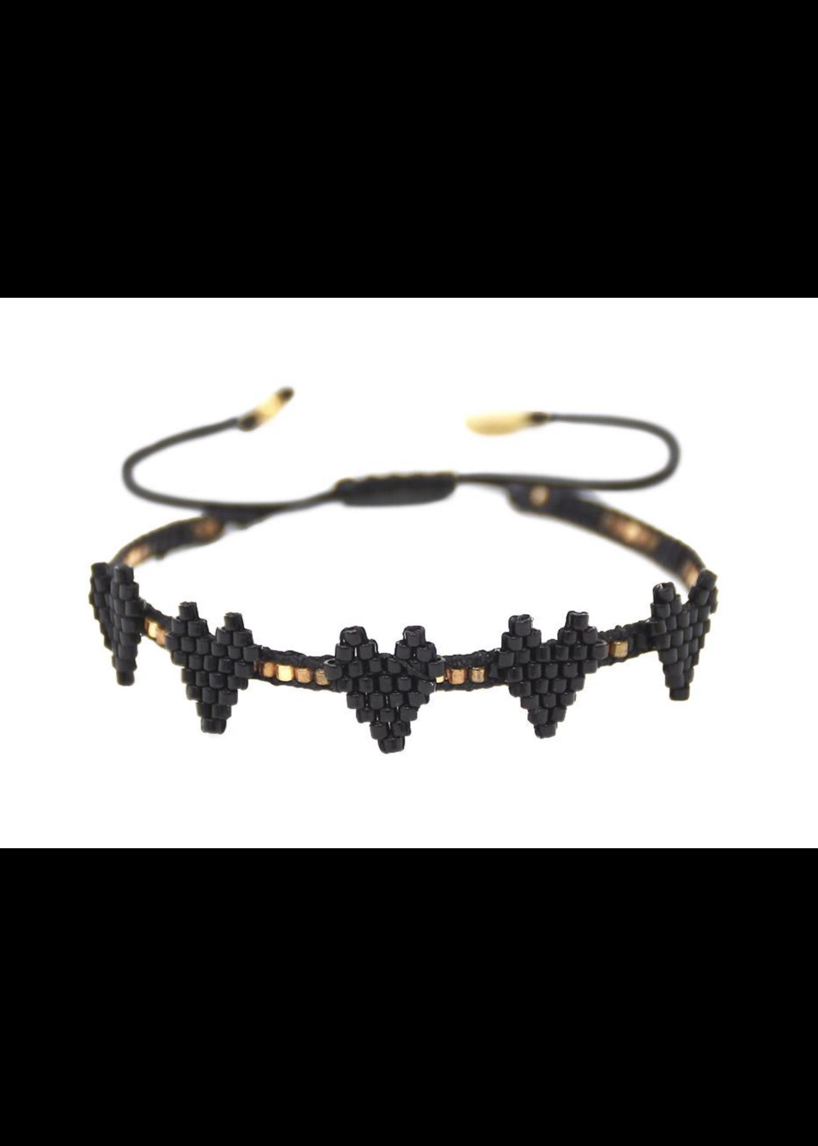 Mishky Black Heartsy Row Bracelet
