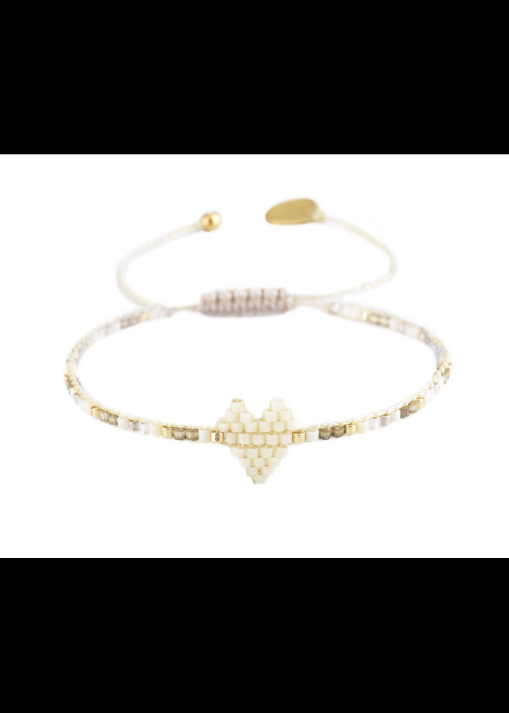 Mishky White Heartsy Row Bracelet