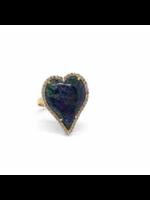Jill Alberts Azurite Malachite & Diamond Heart Ring