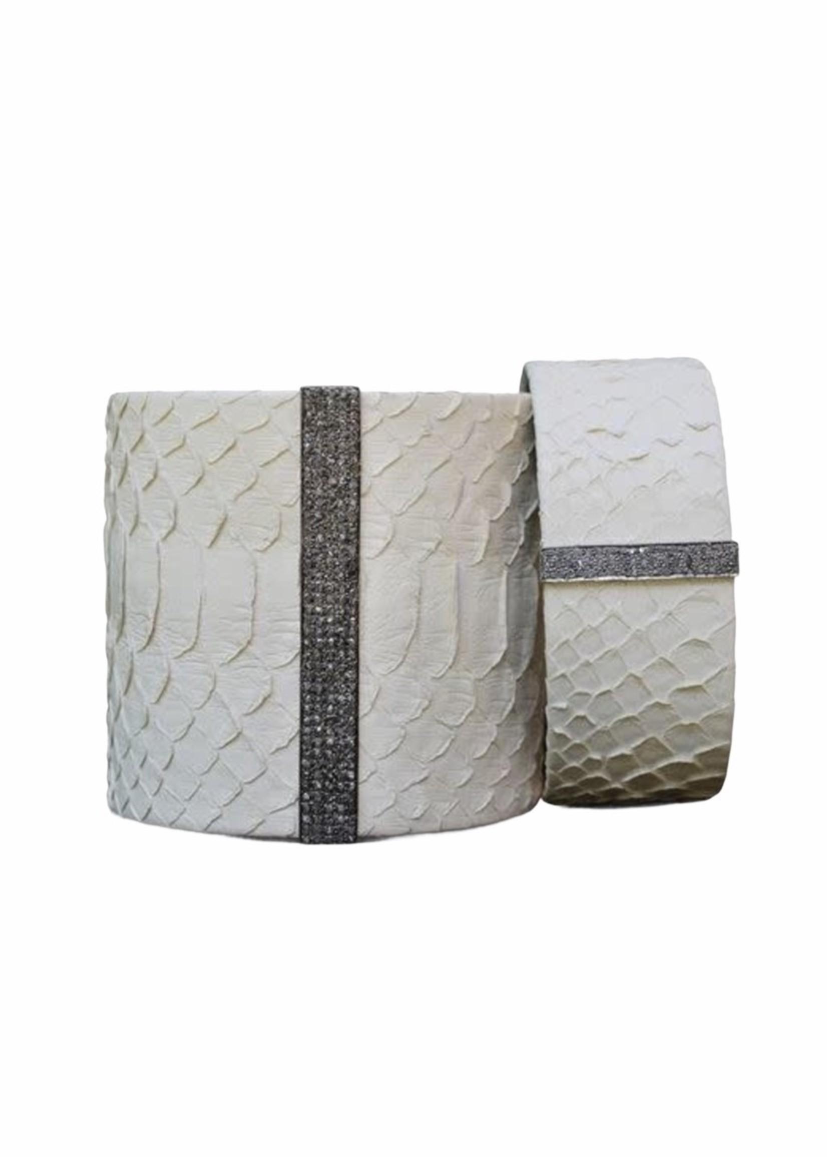 S. Carter Designs Large Off  White Python Cuff