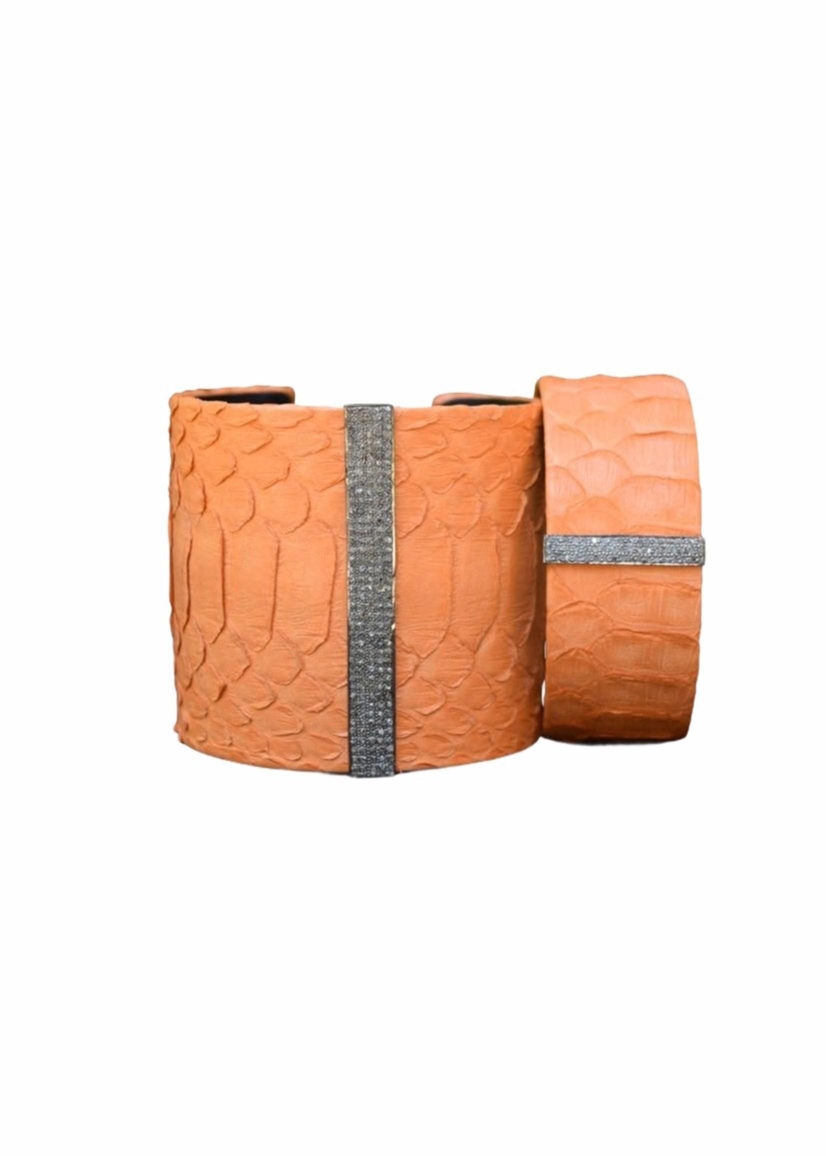 S. Carter Designs Small Orange Python Cuff